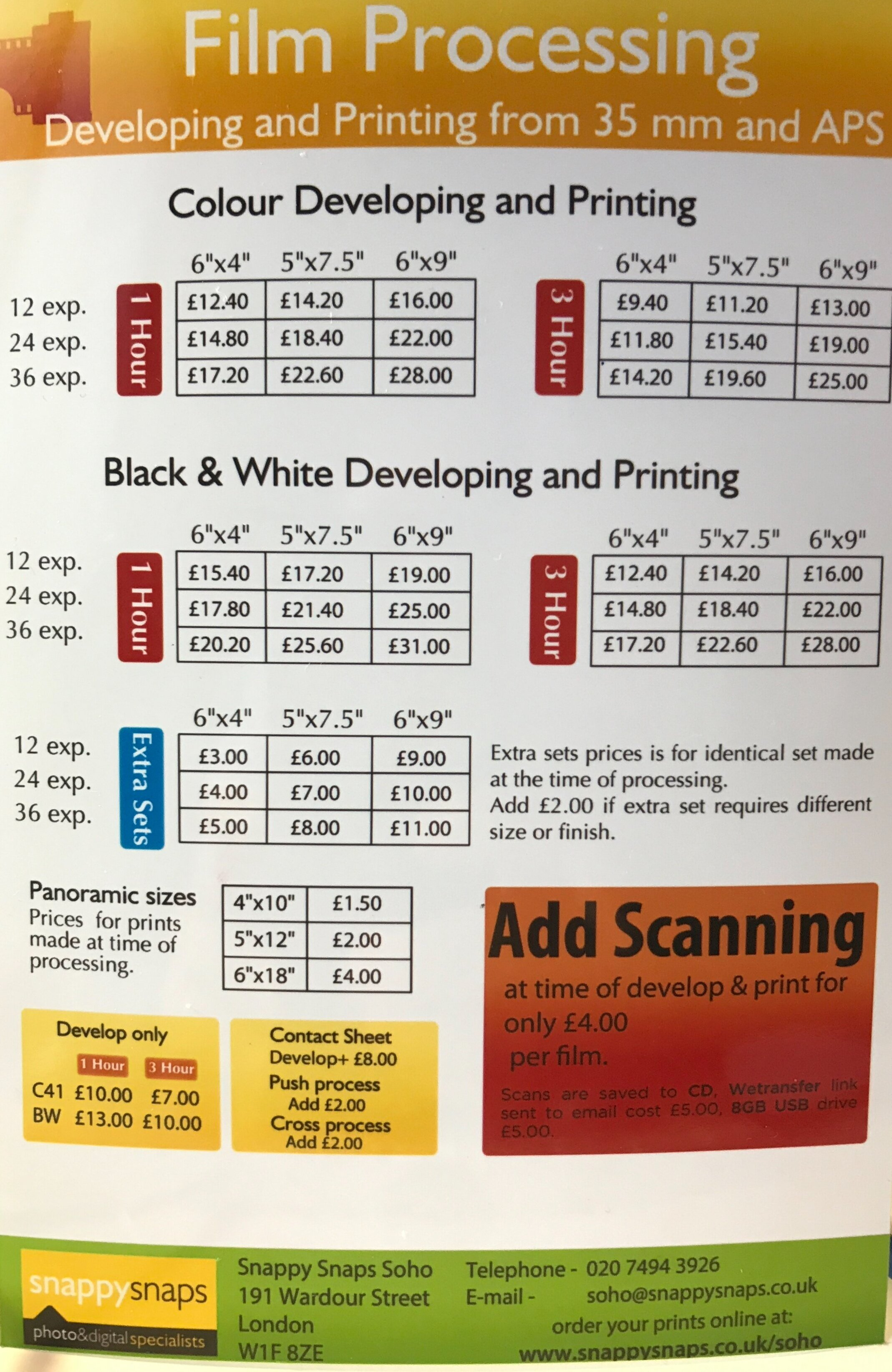 Snappy Snaps in-store film processing and print price list.