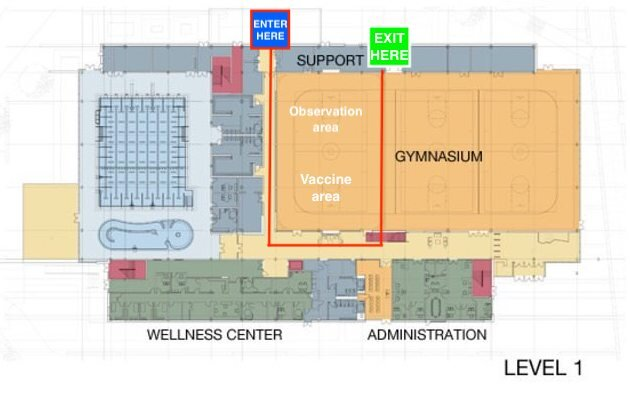 Layout of vaccine clinic at GC Wellness Center