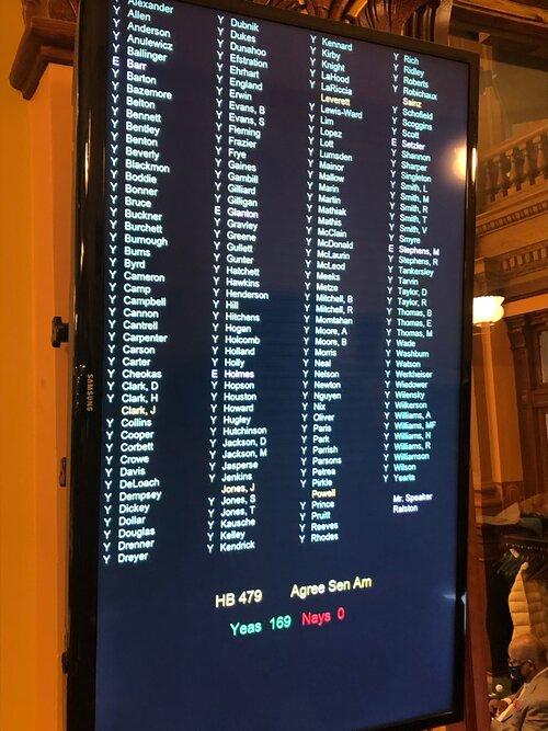 Final House vote on HB 479 (Citizen's arrest overhaul) March 31, 2021.