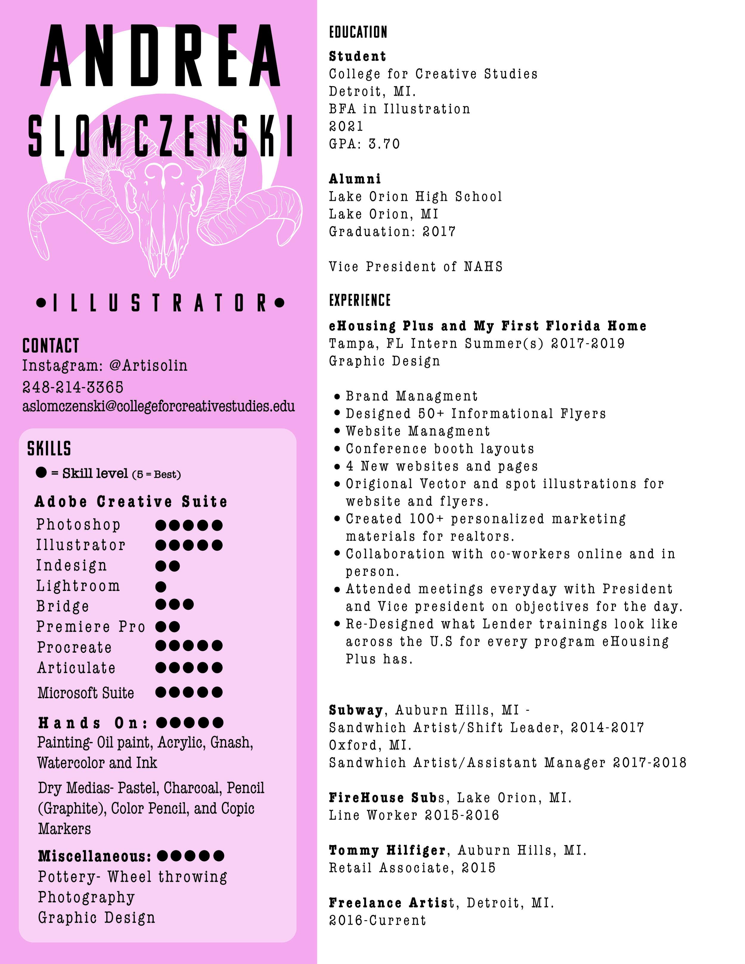 Resume Andrea Joy Slomczenski