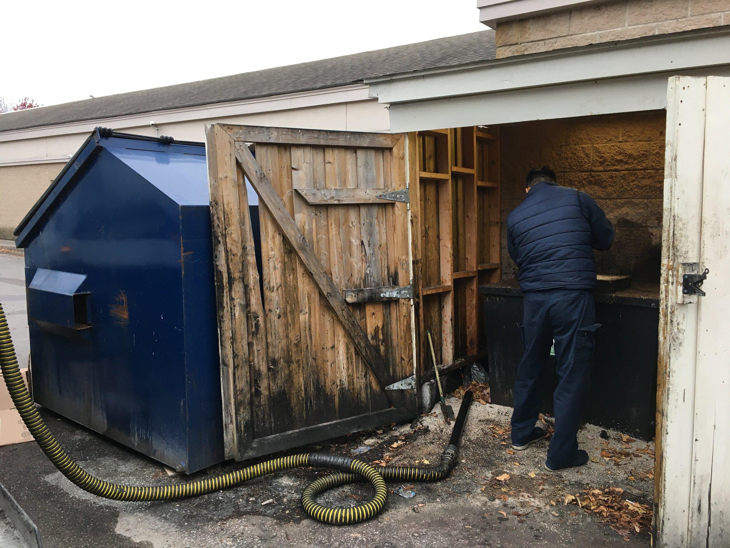 Bin installed in a shack.
