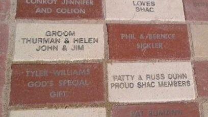 A few of the bricks bordering Signe's Garden