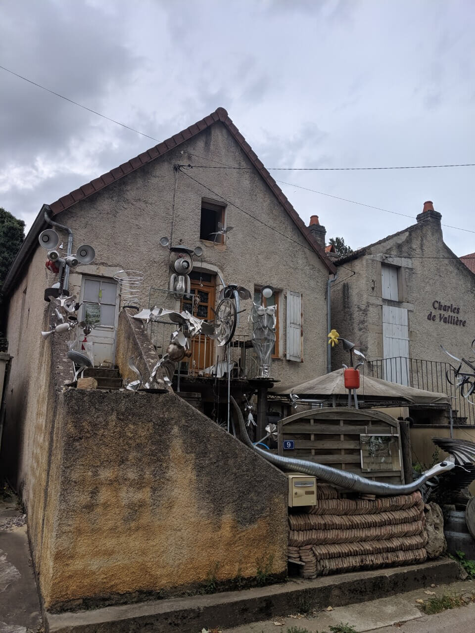 Some interesting art on our way out of town. (Pommard, France)