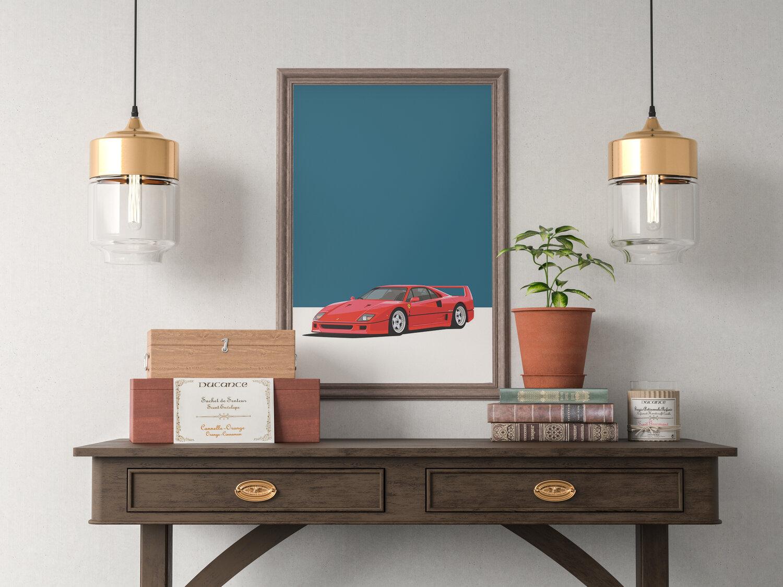 Orange range of sizes available Framed Poster