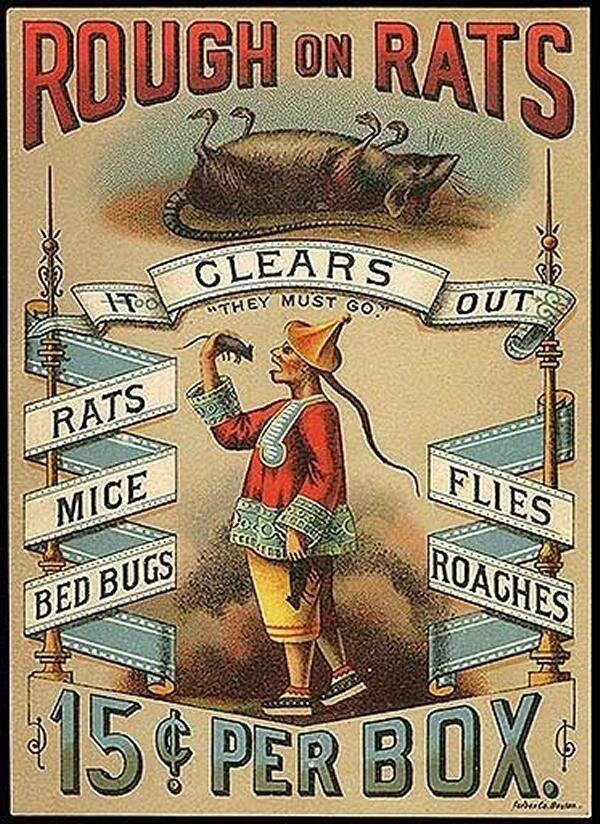 """""""They Must Go."""" An advertisement for  Rough On Rats  rat poison, 1870s"""