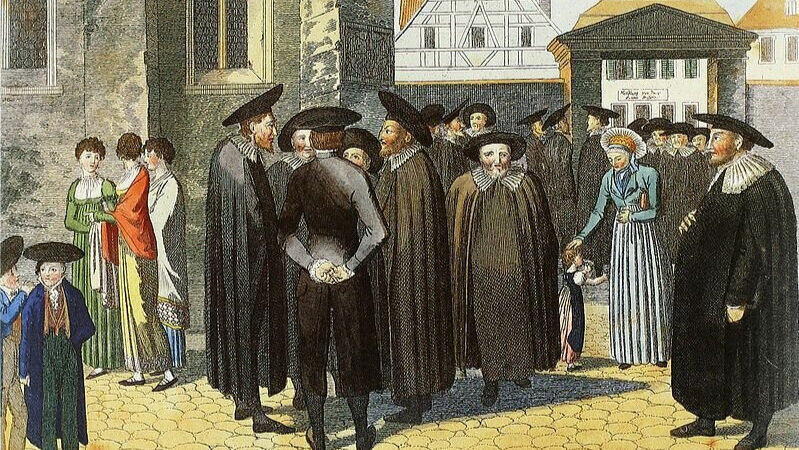 Jews gathered outside a synagogue in Fürth, Bavaria, on the Sabbath.