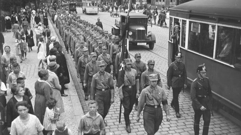 The SA (Sturmabteilung) stormtroopers in Berlin in 1932