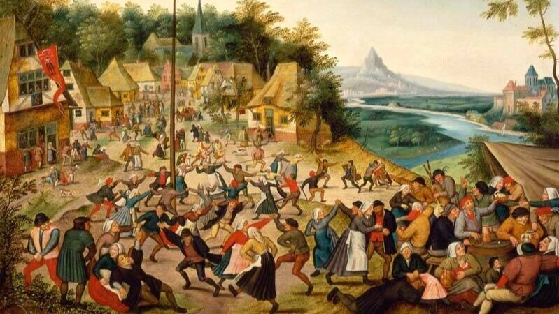 Village scene with peasants carousing and dancing around a maypole by Pieter Brueghel the Younger (c. 1565– c. 1636)