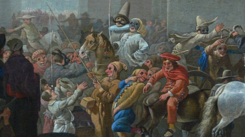 Fools in Johannes Lingelbach's  Carnival in Rome  (detail), c. 1650.