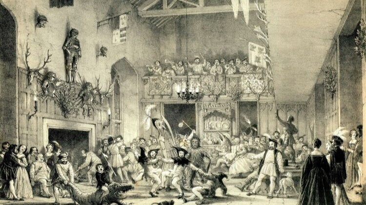 Christmas revels at Haddon Hall, Derbyshire, as illustrated in volume I (1839) of Mansions of England in the Olden Time, by Joseph Nash. Mummers play while musicians perform in the balcony. Haddon Hall was famous for Christmastide hospitality and feasts during the Twelve Days.