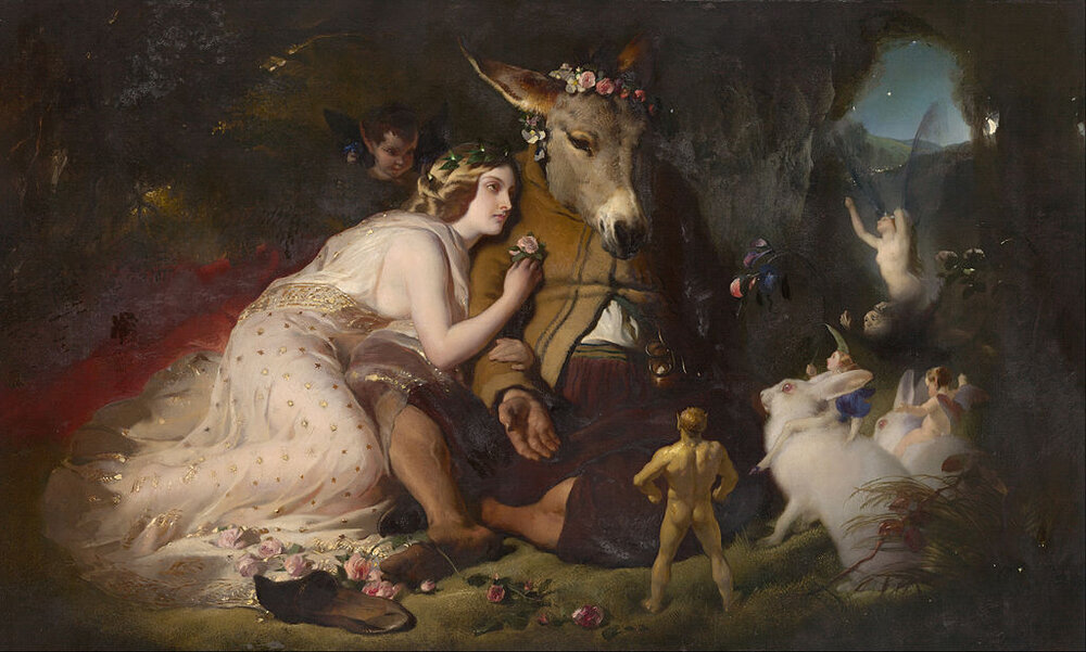 Shakespeare's Titania depicted by Edwin Landseer in his painting Scene from  A Midsummer Night's Dream , based on A Midsummer Night's Dream act IV, scene I, with Bottom and fairies in attendance.