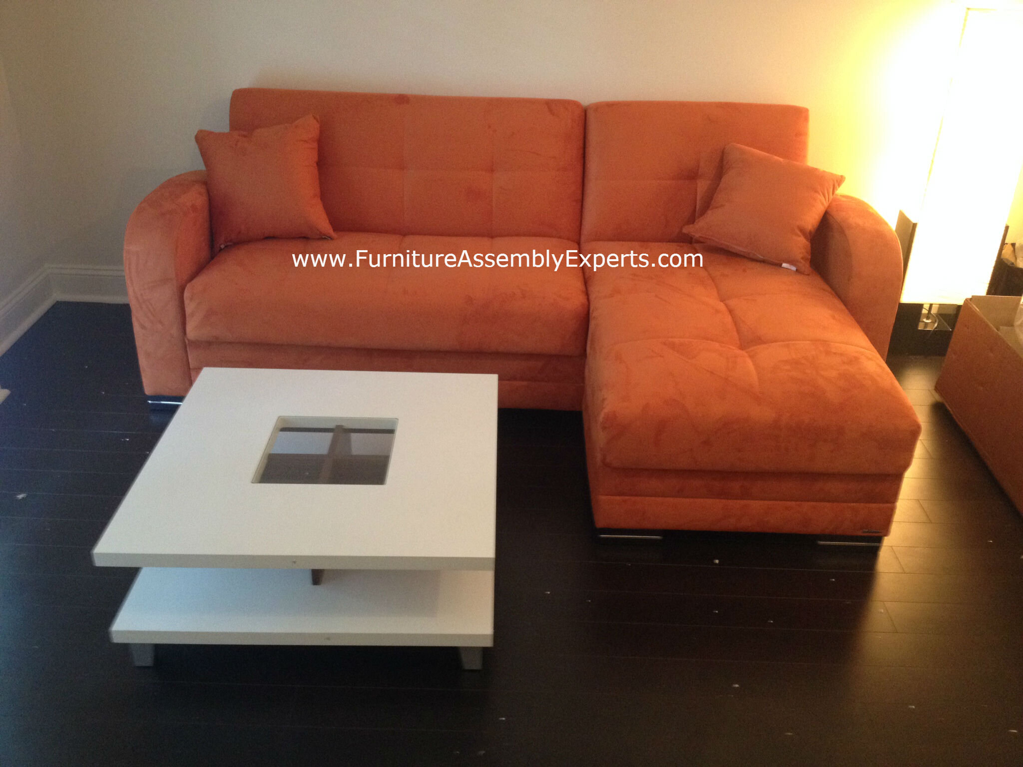 check out this restoration hardware sofa and coffee table installed for a customer at his home in Washington DC by our Furniture assembly Experts