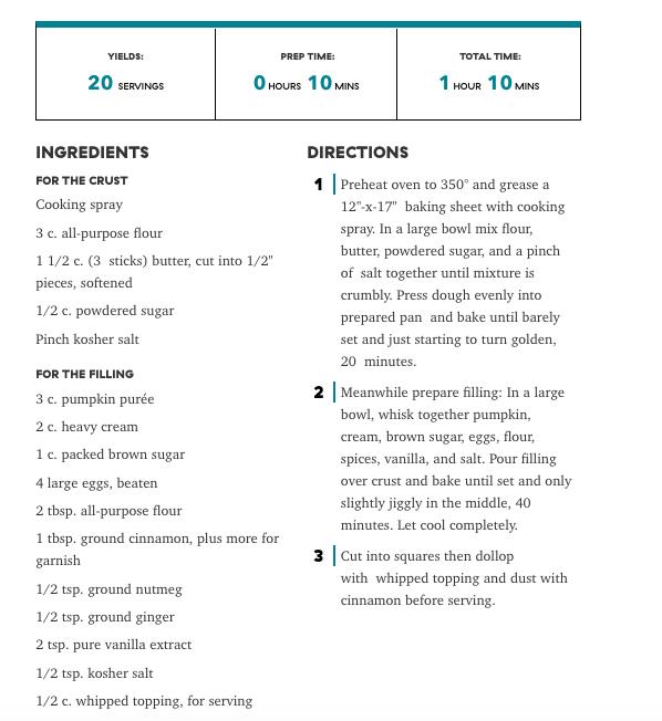 Pumpkin Squash Recipe