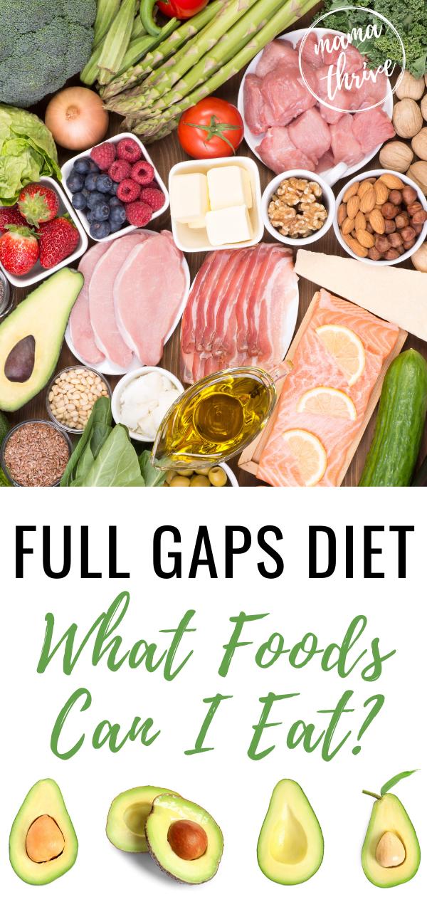full list of gaps diet foods