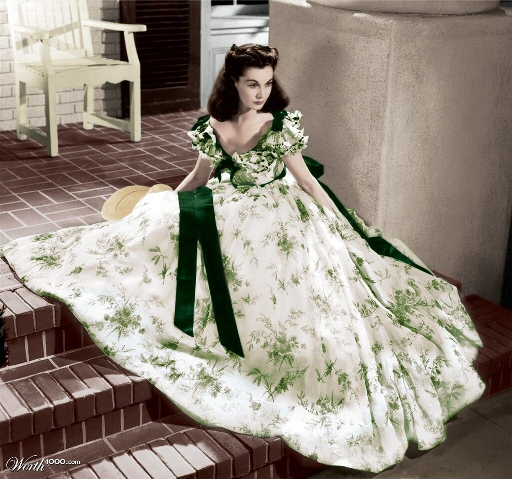 The ultimate queen of flamboyant dressing - Scarlett O'Hara. Throughout the film she wears an amazing array of dresses from the infamous BBQ dress pictured above to the magnificent green velvet dress she has made from her curtains when she's living through the aftermath of the Civil War. Some of the dresses may (or may not) be that historically accurate but if you can manage to sit through 3h 46m of film (it has a cute interval halfway through for ice cream) you won't be disappointed in the costume department. It's easy to see why this glamorous film would have raised people's spirits after the Great Depression taking $393m at the box office even with it's controversial depiction of the Civil War.