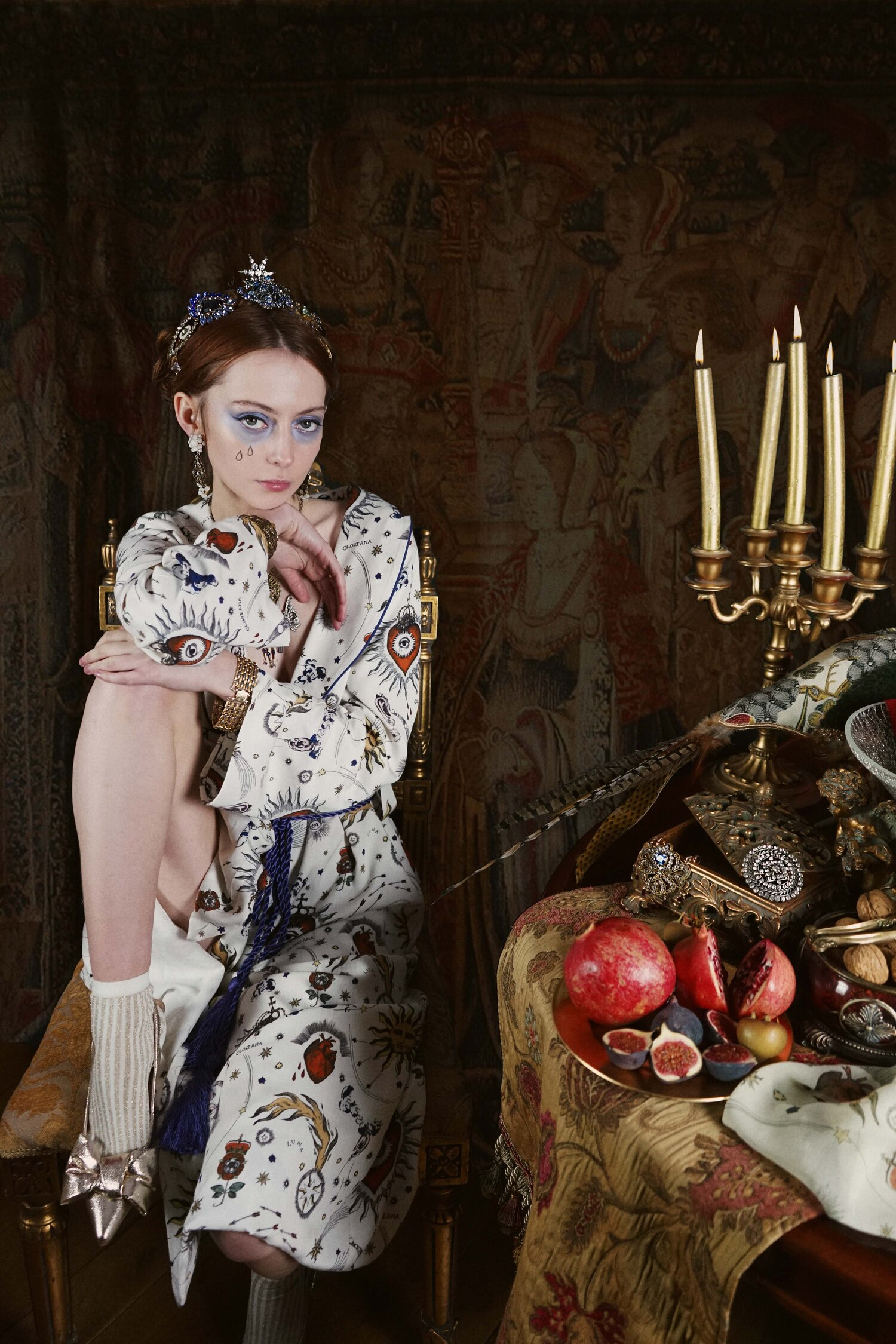 Golden Age Robe in Gloriana Print - Coming back into stock in new Navy Colourway