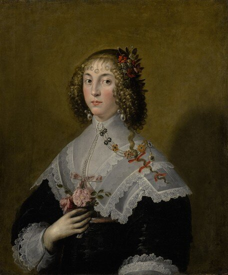 EDWARD-BOWER-PORTRAIT-OF-A-LADY-HALF-LENGTH-WEARING-A-BLACK-DRESS-WITH-BROAD-LACE-COLLAR-PEARLS-HAIR-RIBBONS-AND-HOLDING-A-BO_1576958523_1456.jpg