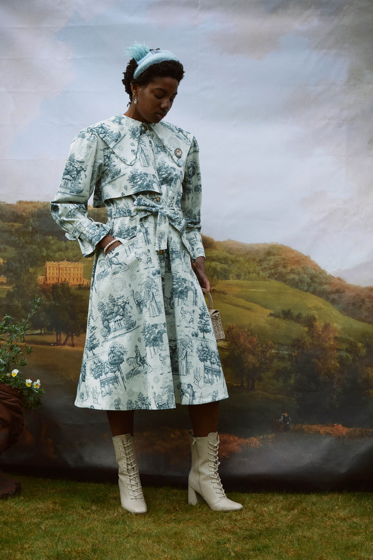Knightley Coat in Teal Vauxhall Toile