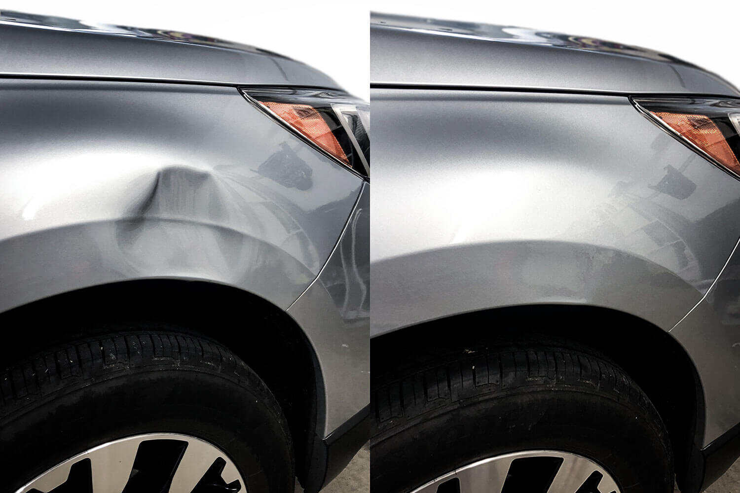 Before and after paintless dent repair