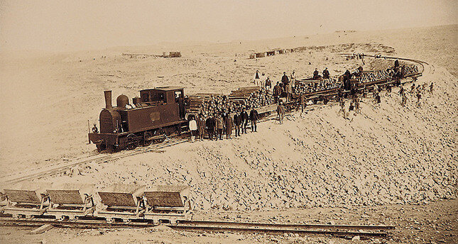 Photo displayed in an exhibition to commemorate 100th year of Hejaz Railway shows engineers and workers during the construction phase of the railway.