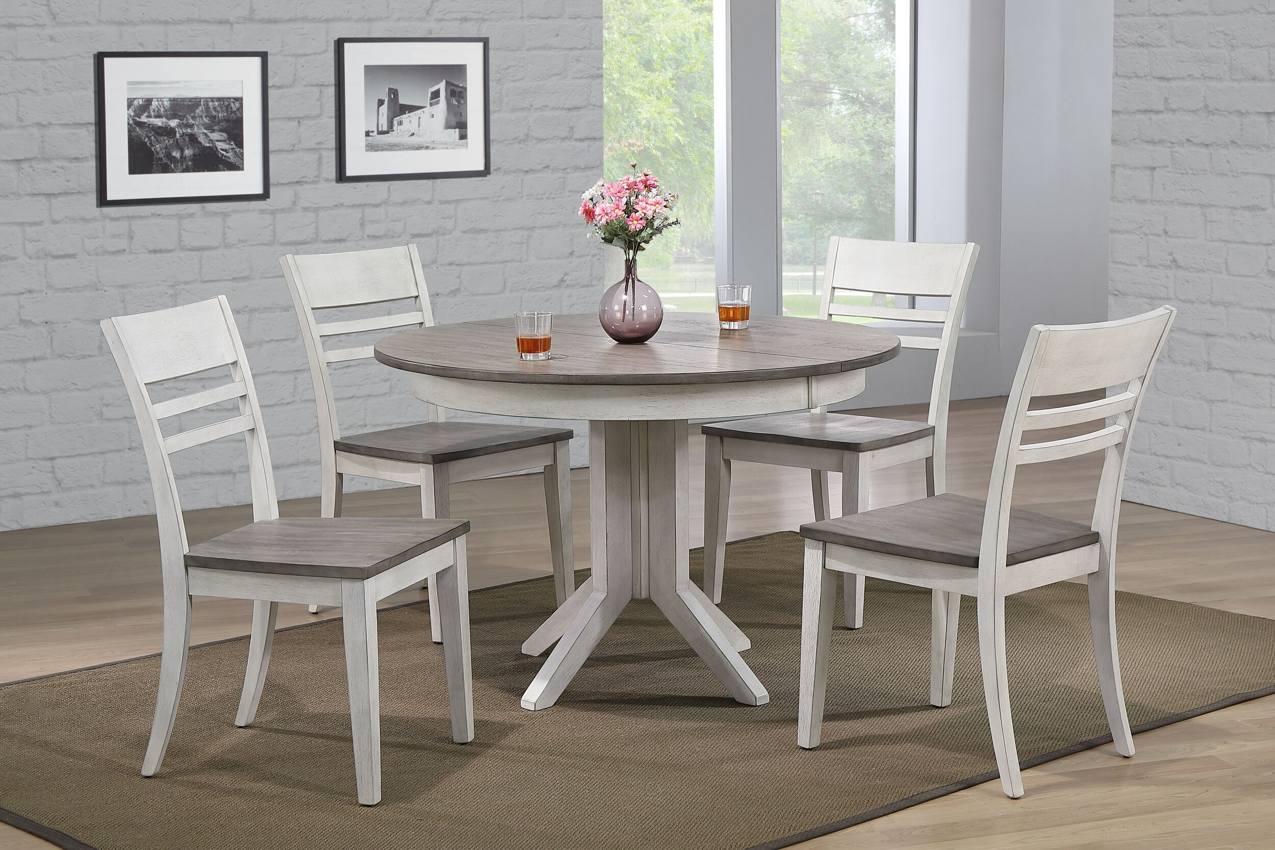 "45""x45""x63"" Contemporary Table In Ash & Stormy White With Transitional Ladder Back Chairs (7-Piece Dining Set)"