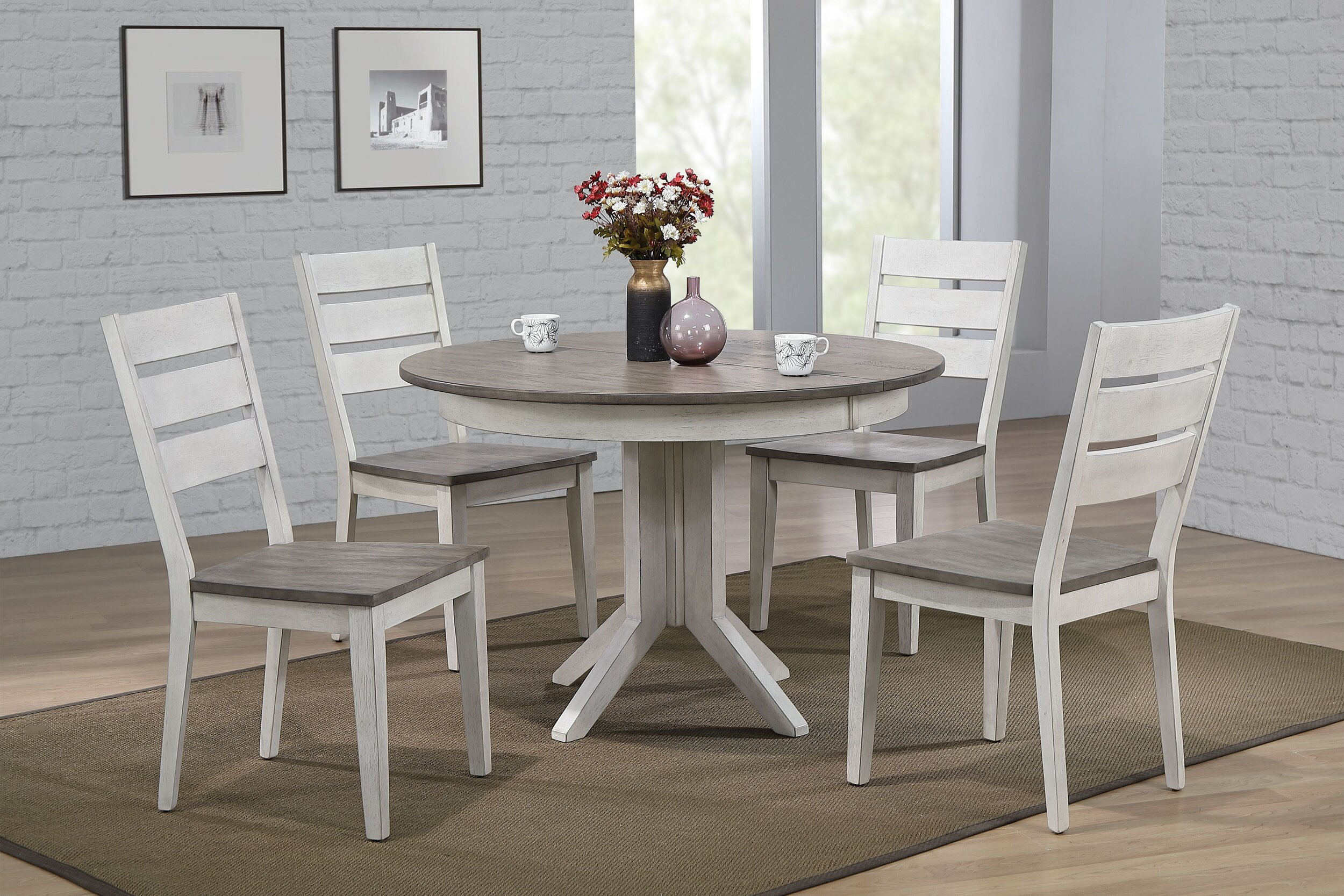 "45""x45""x63"" Transitional Table In Ash & Stormy White With Contemporary Ladder Back Chairs (7- Piece Dining Set)"