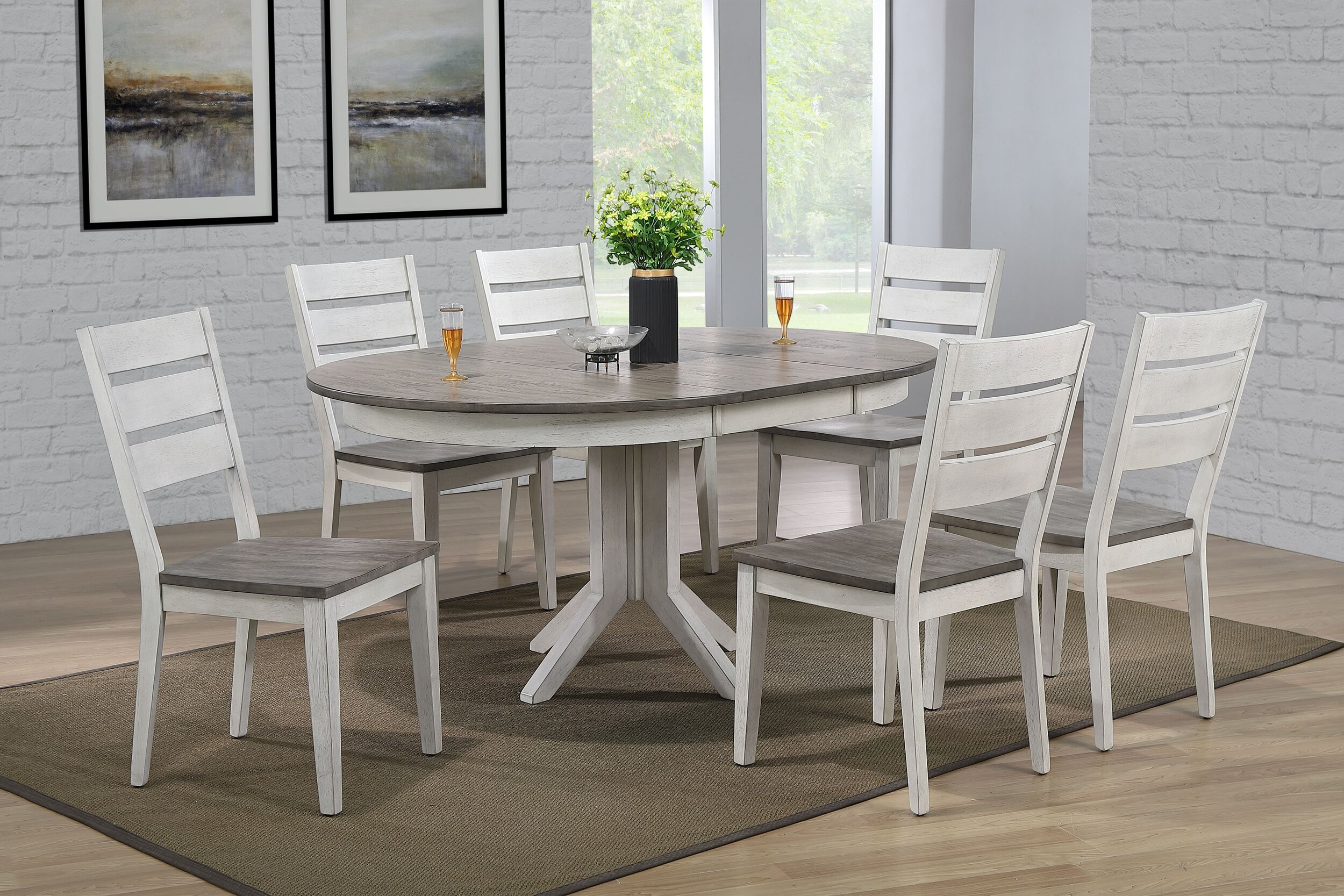 "45""x45""x63"" Transitional Table In Ash & Stormy White With Contemporary Ladder Back Chairs (5-Piece Dining Set)"