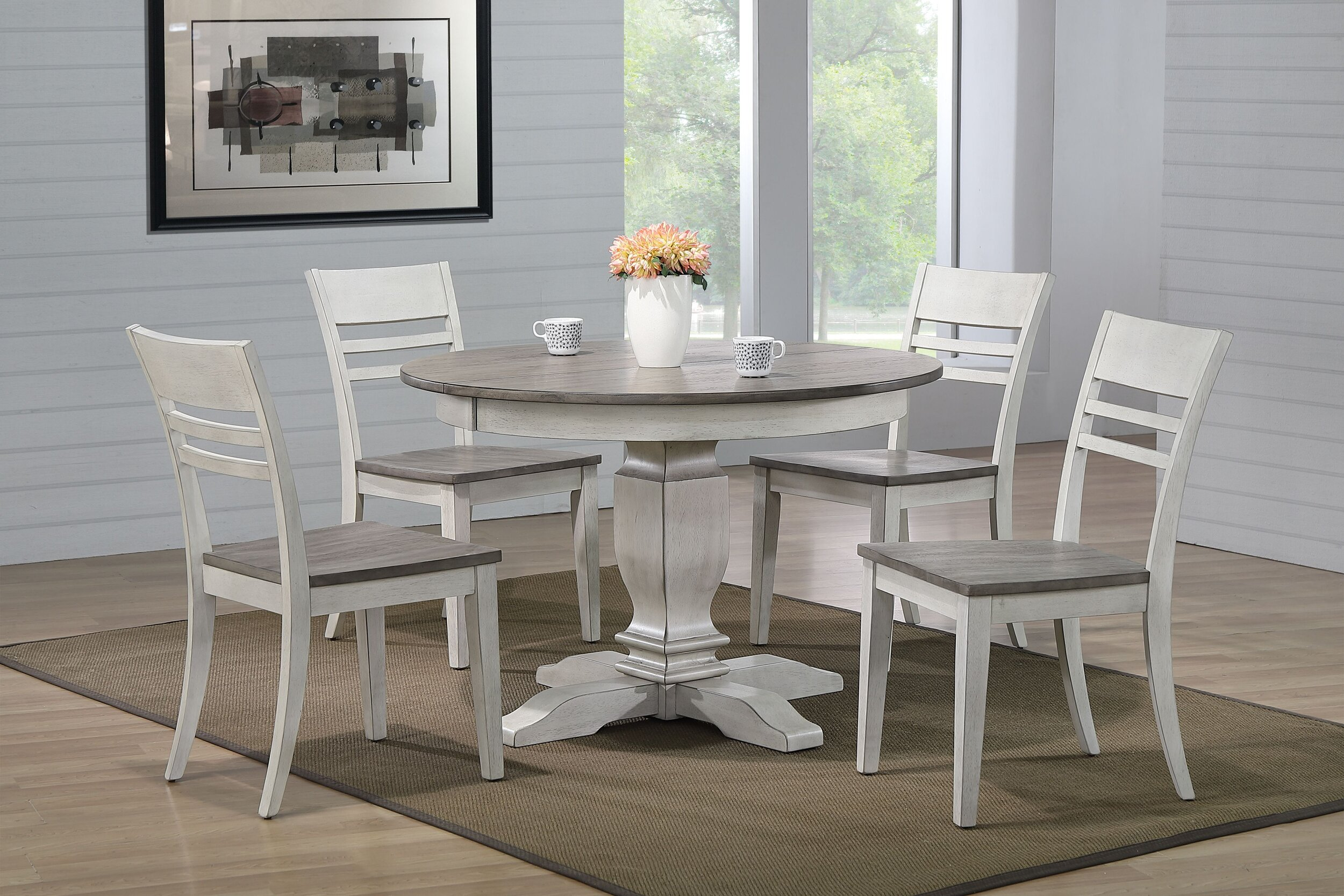 "45""x45""x63"" Transitional Ash & Stormy White (5-Piece Dining Set)"