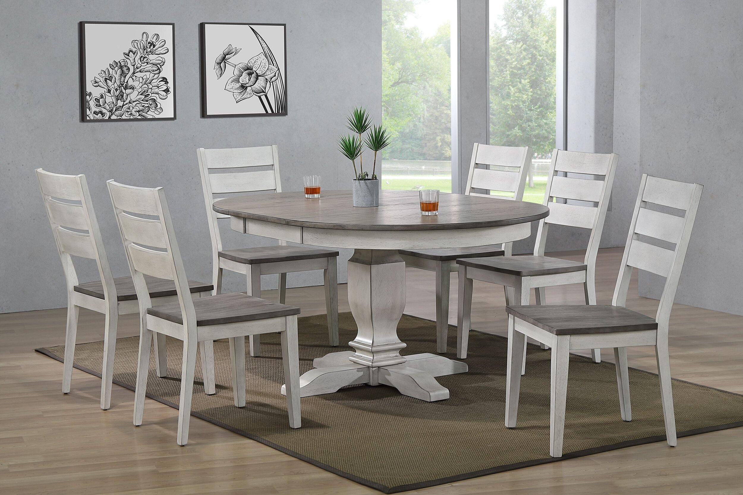 "45""x45""x63"" Transitional Table In Ash & Stormy White With Contemporary Ladder Back Chairs (7-Piece Dining Set)"