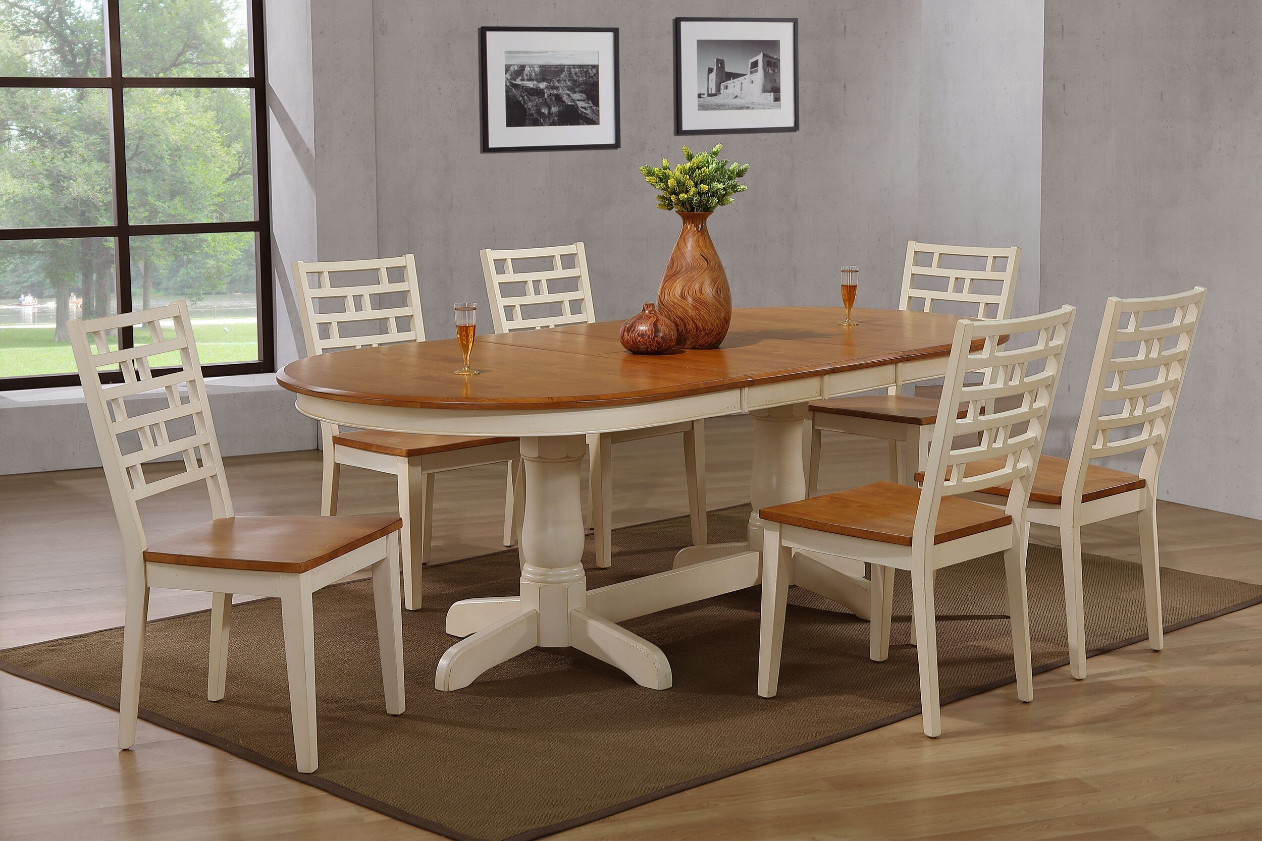 "42""x66""x78""x90"" Oval Antiqued Caramel Biscotti Designer Back (7-Piece Dining Set)"