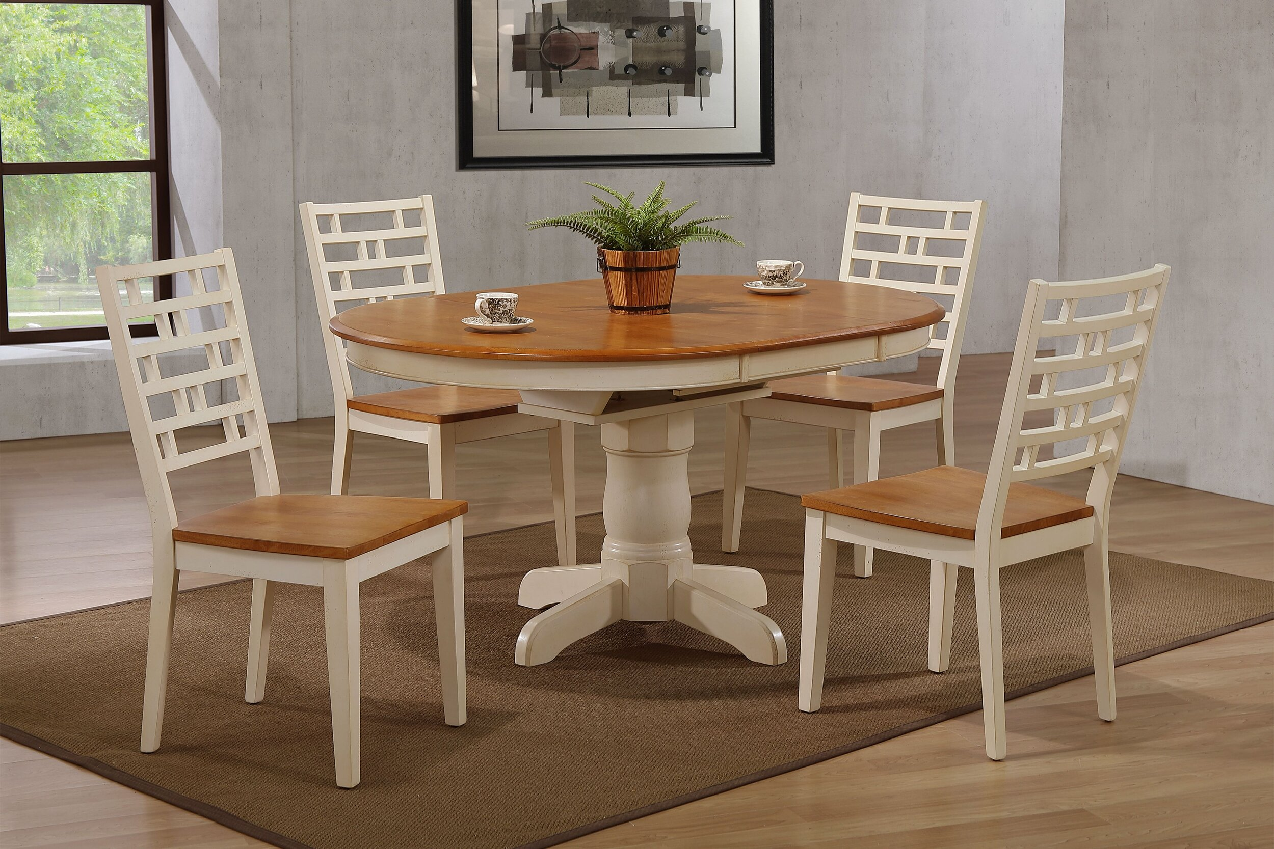 "42""x42""x60"" Antiqued Caramel Biscotti Table With Designer Back Chairs (5-Piece Dining Set)"