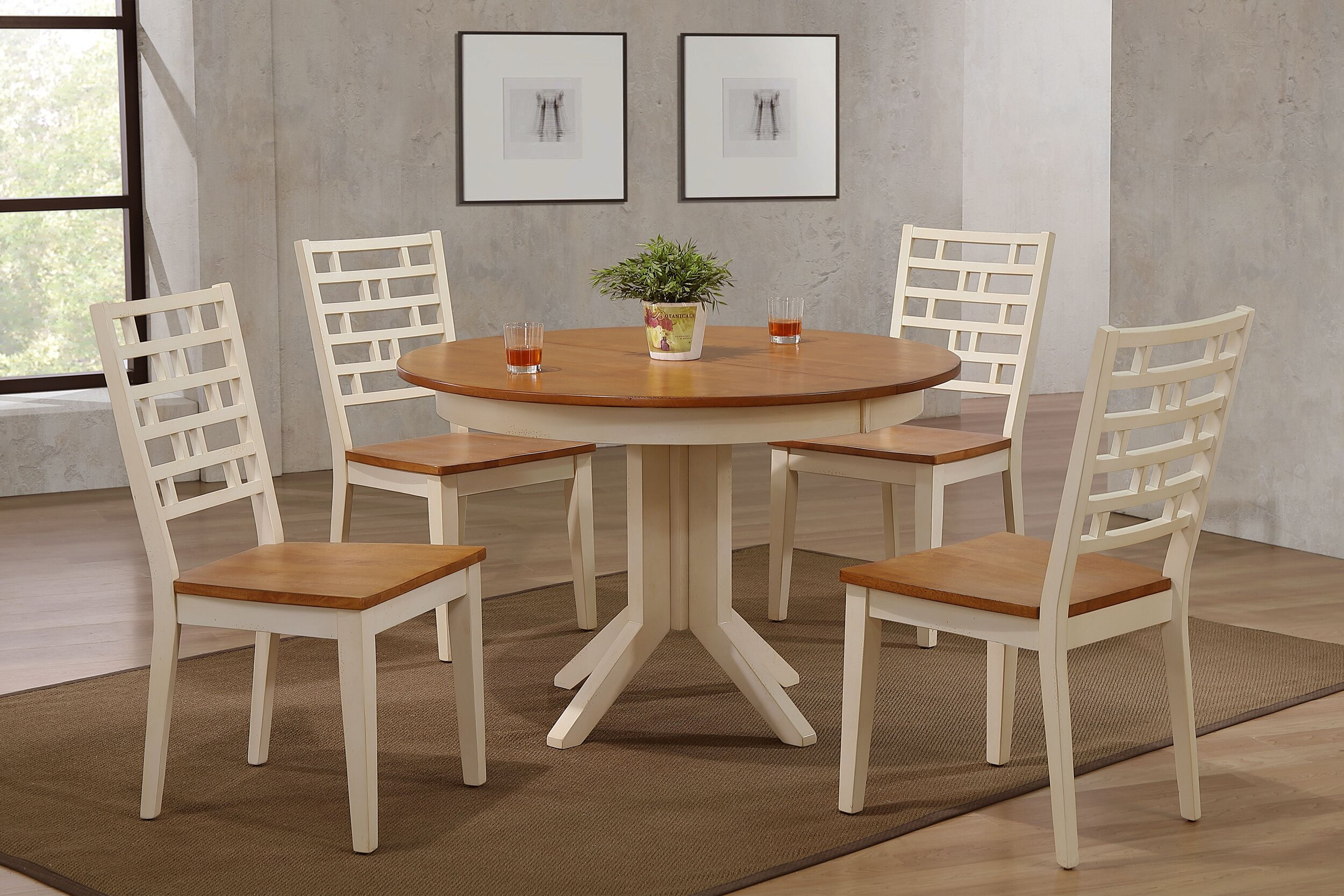 "45""x45""x63"" Contemporary Table In Antiqued Caramel Biscotti With Designer Back Chairs (5-Piece Dining Set)"