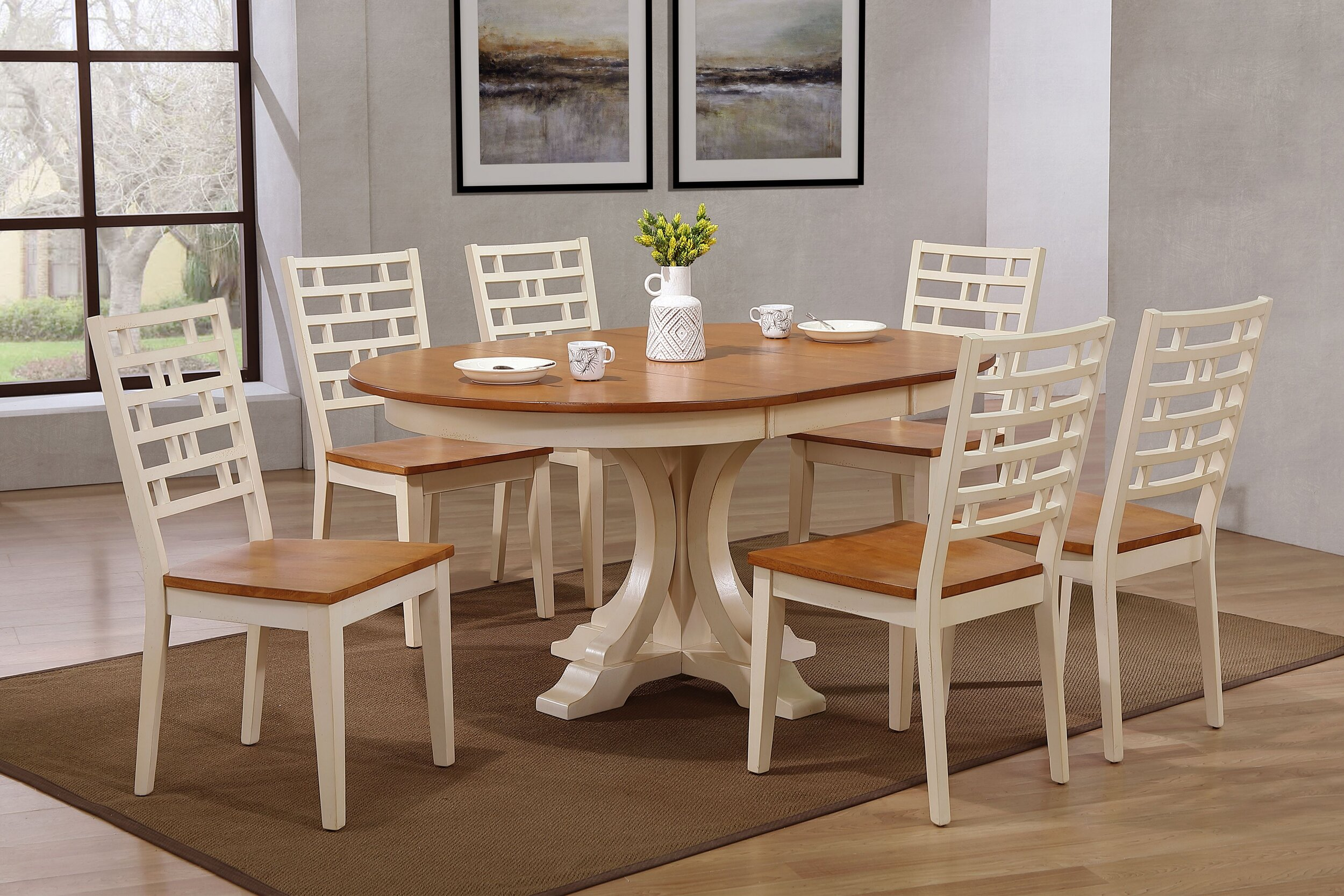 "45""x45""x63"" Art Deco Table In Antiqued Caramel Biscotti With Designer Back Chairs (7-Piece Dining Set)"