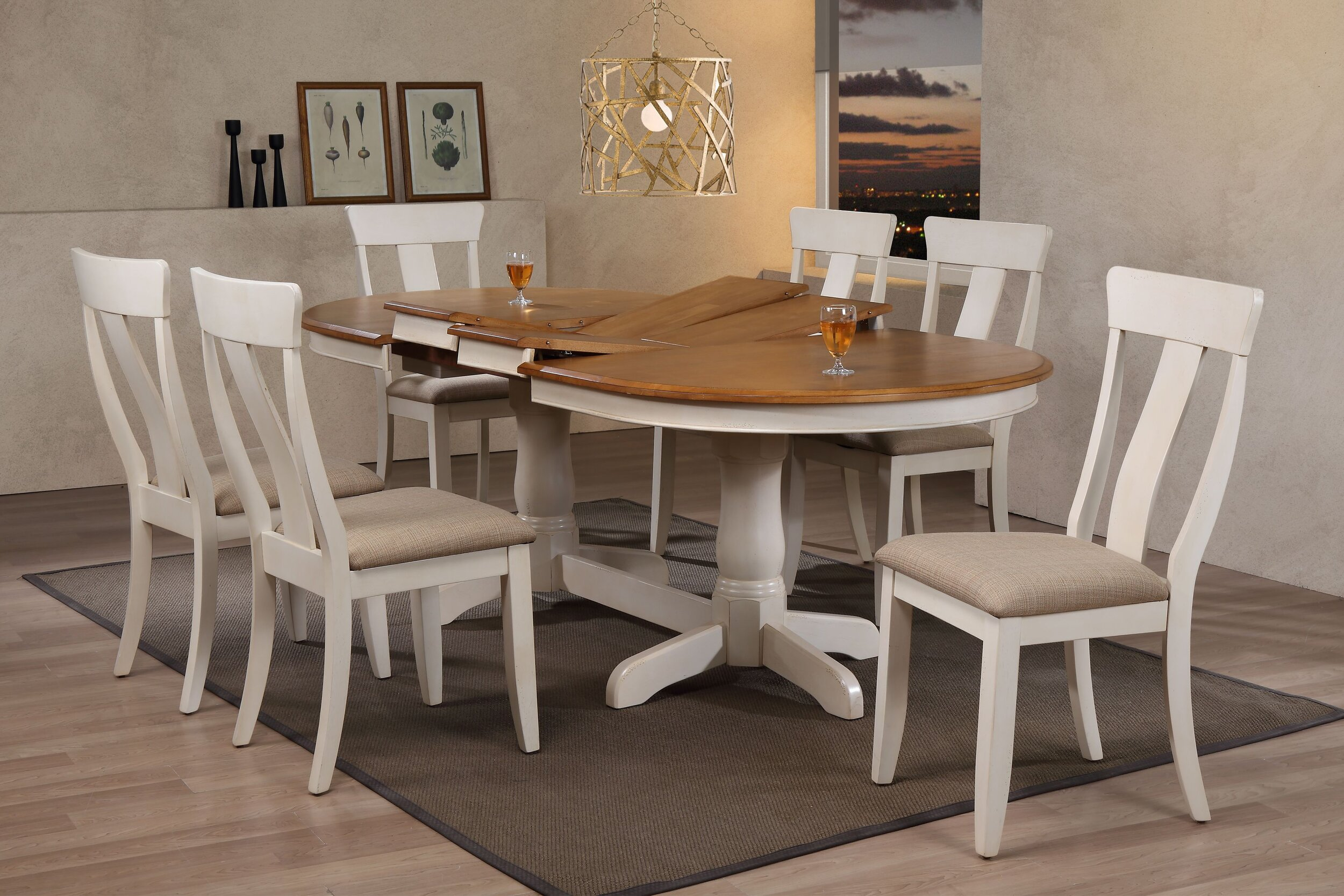 "42""x66""x78""x90"" Oval Antiqued Caramel/Biscotti Upholstered Panel Back )7-Piece Dining Set)"