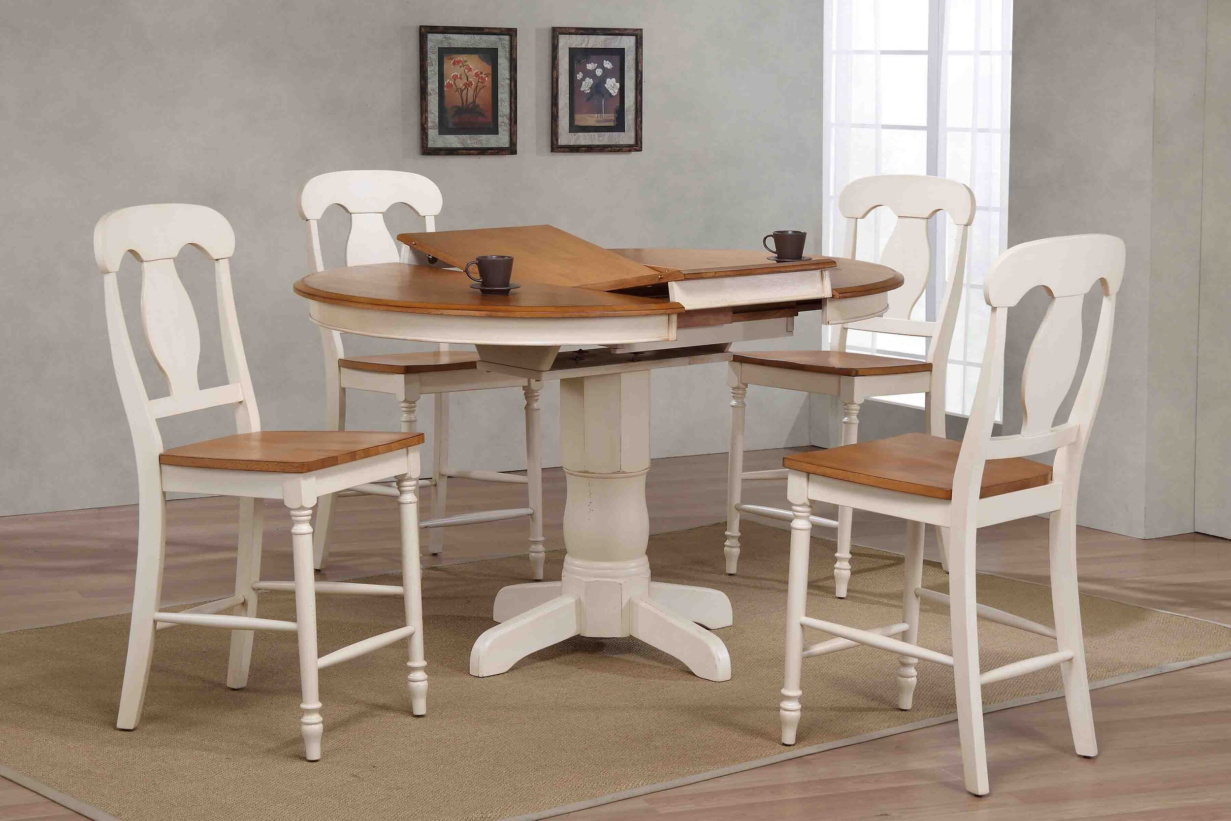 "42""x42""x60"" Antiqued Caramel/Biscotti Napoleon Back Counter Height (5-Piece Dining Set)"