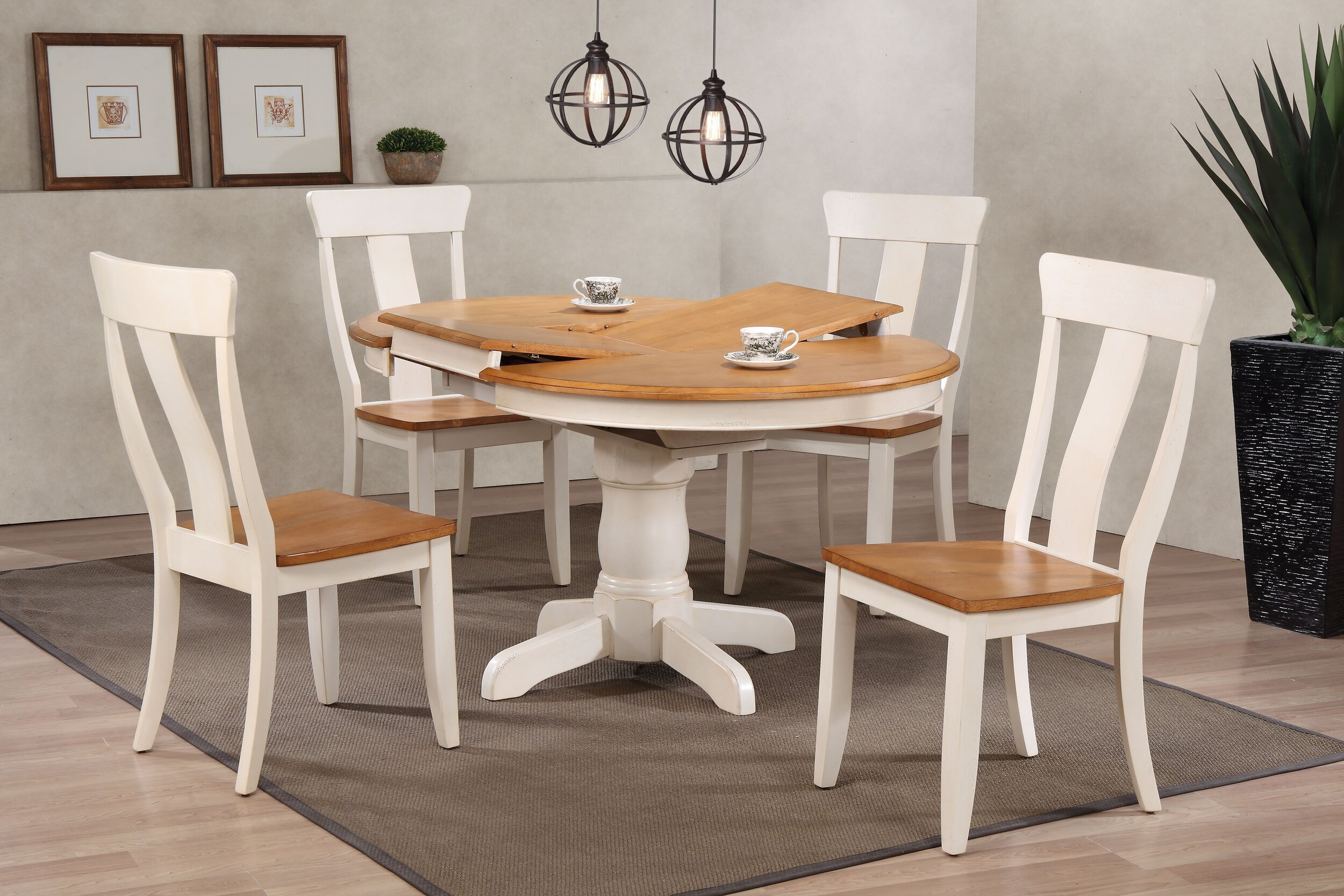 "42""x42""x60"" Round Antiqued Caramel/Biscotti Panel Back  (5-Piece Dining Set)"