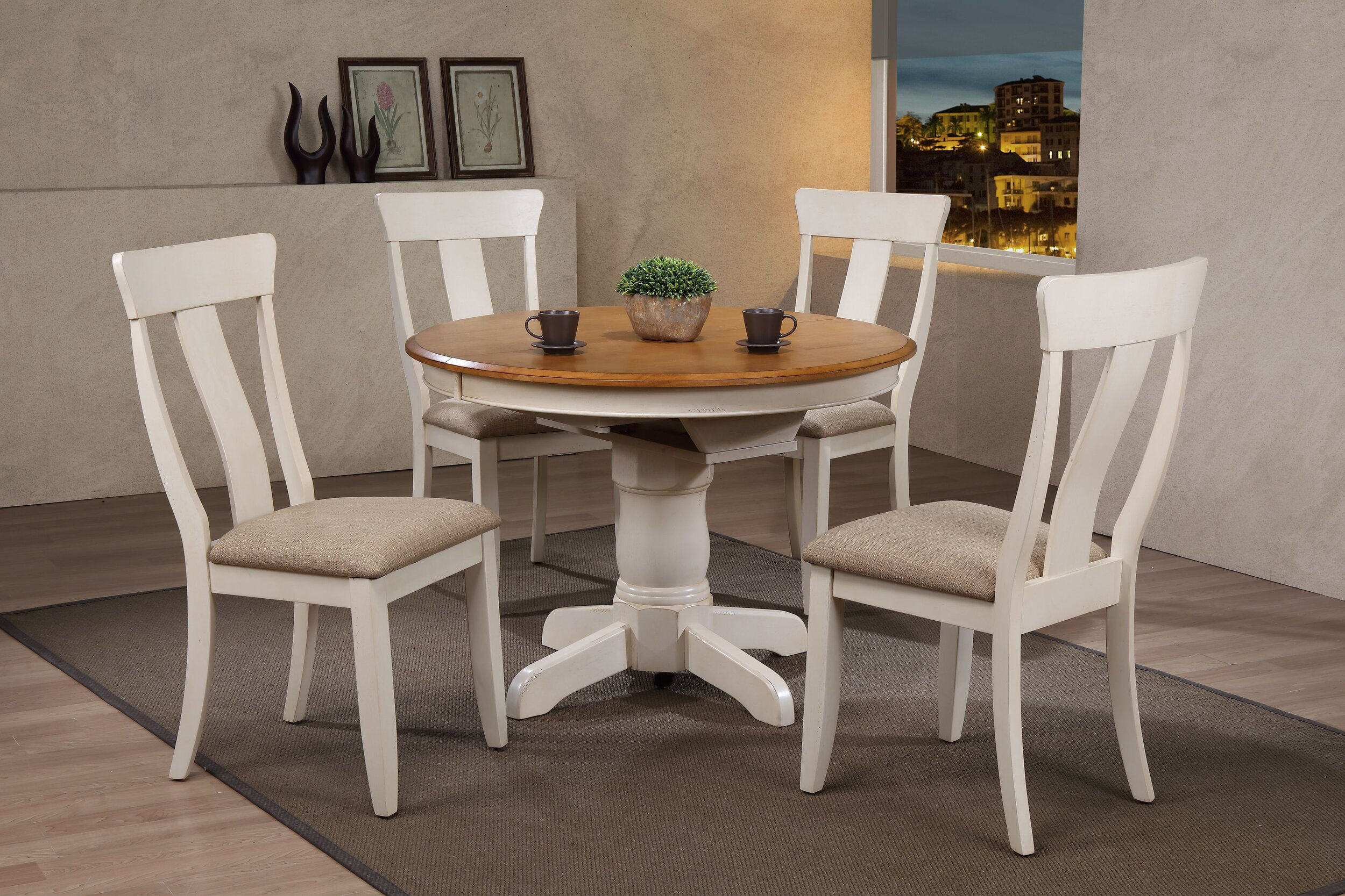 "42""x42""x60"" Round Antiqued Caramel/Biscotti Panel Back Upholstered (5-Piece Dining Set)"