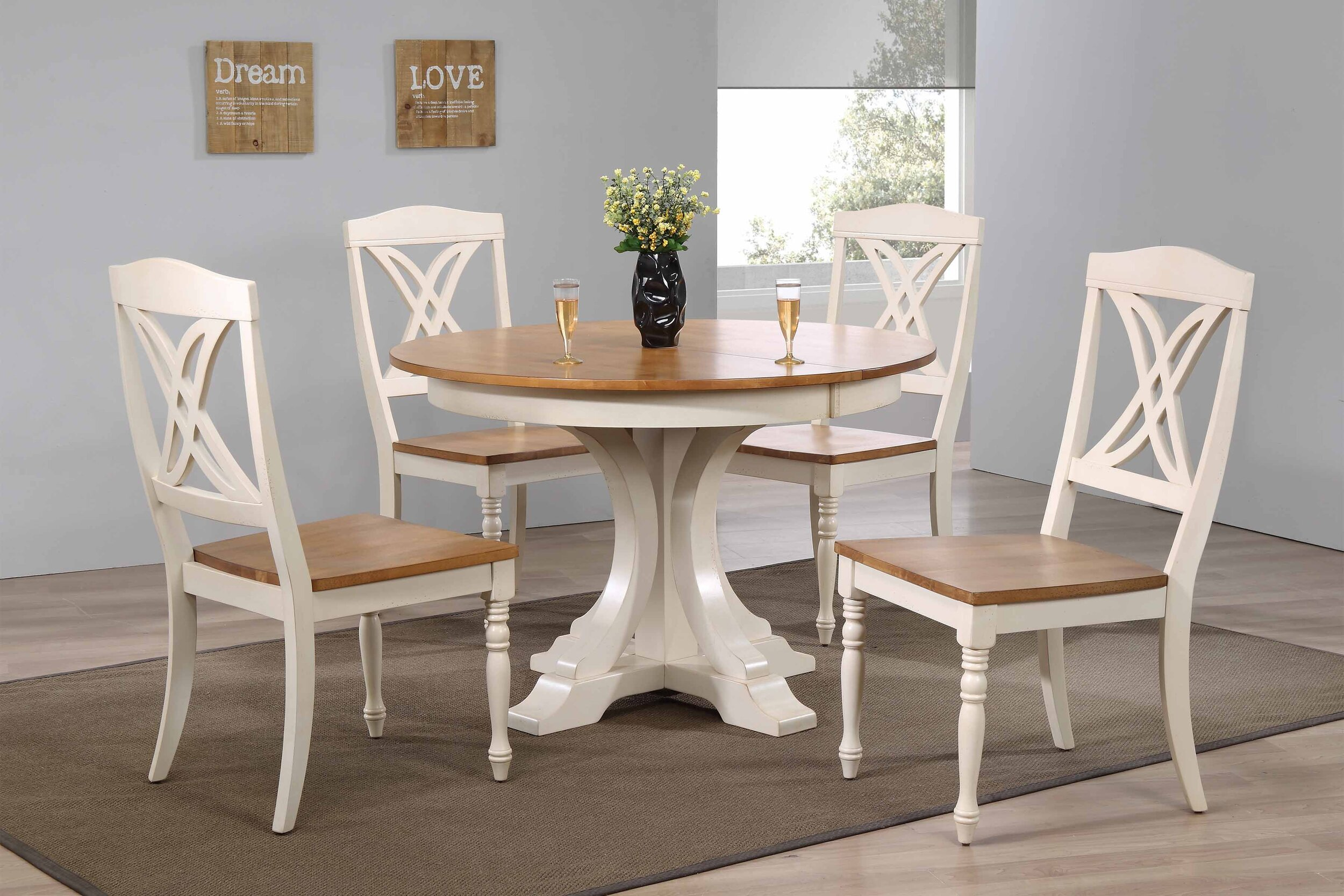 "45""x45""x63"" Deco Antiqued Caramel/Biscotti Butterfly Back (5-Piece Dining Set)"