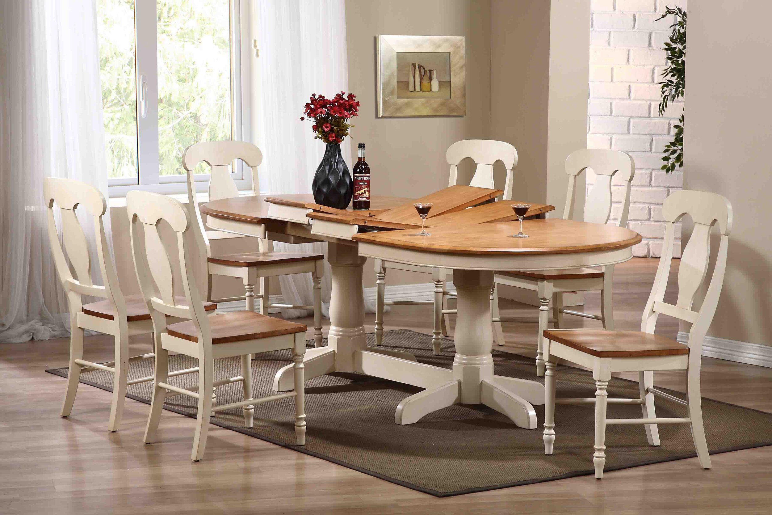 "42""x66""x78""x90"" Oval Antiqued Caramel Biscotti Napoleon Back (7-Piece Dining Set)"