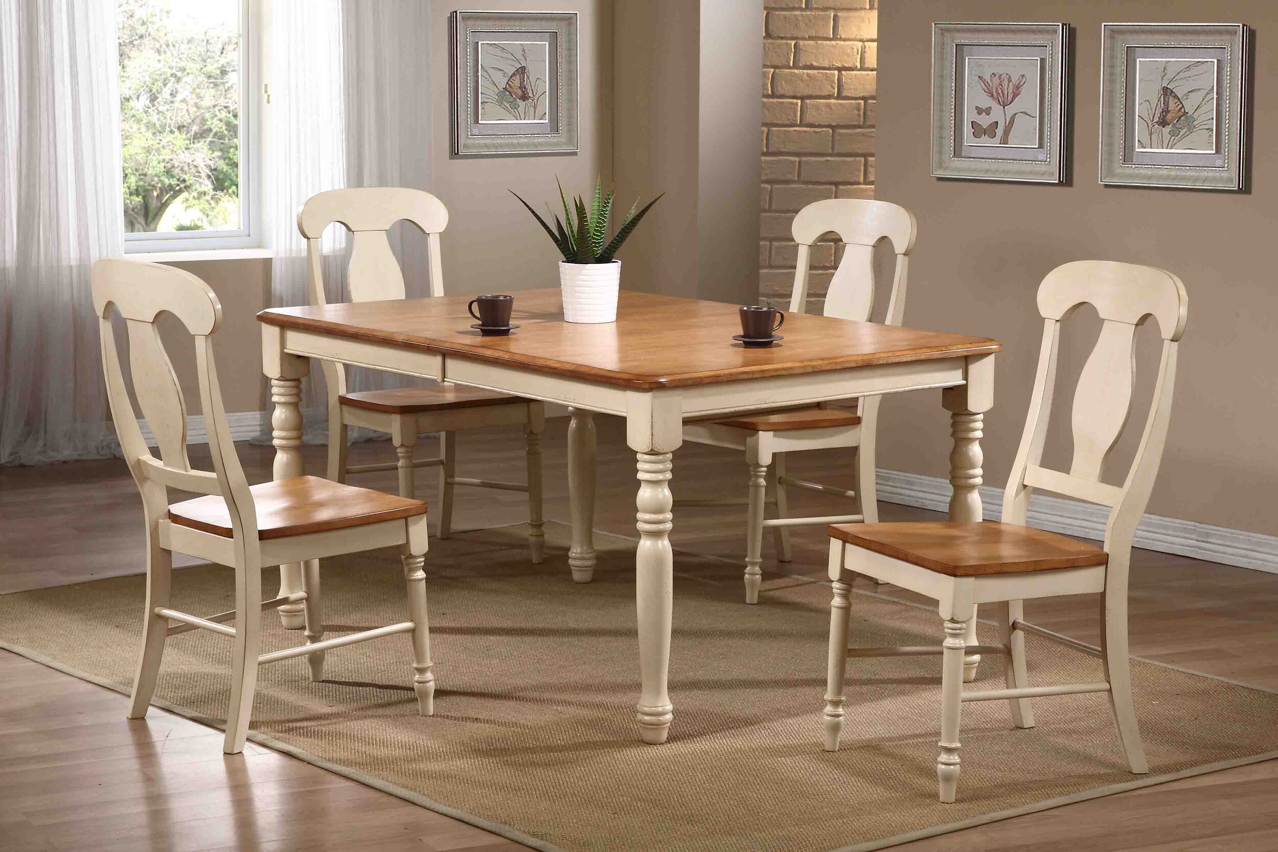 "36""x52""x67"" Rectangle Antiqued Caramel/Biscotti Napoleon Back (5-Piece Dining Set)"