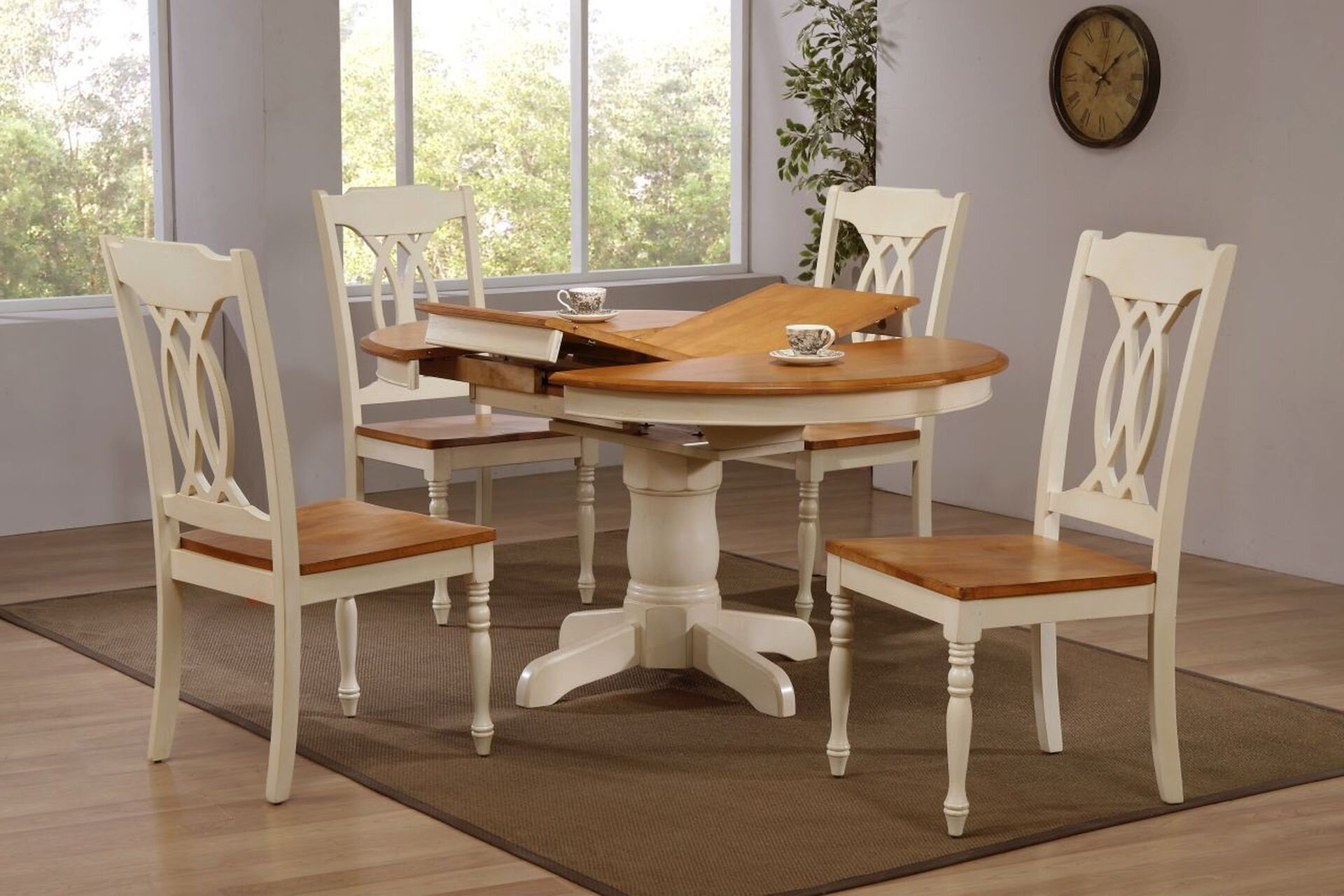 "42""x42""x60"" Caramel Biscotti Traditional Back (5-Piece Dining Set)"