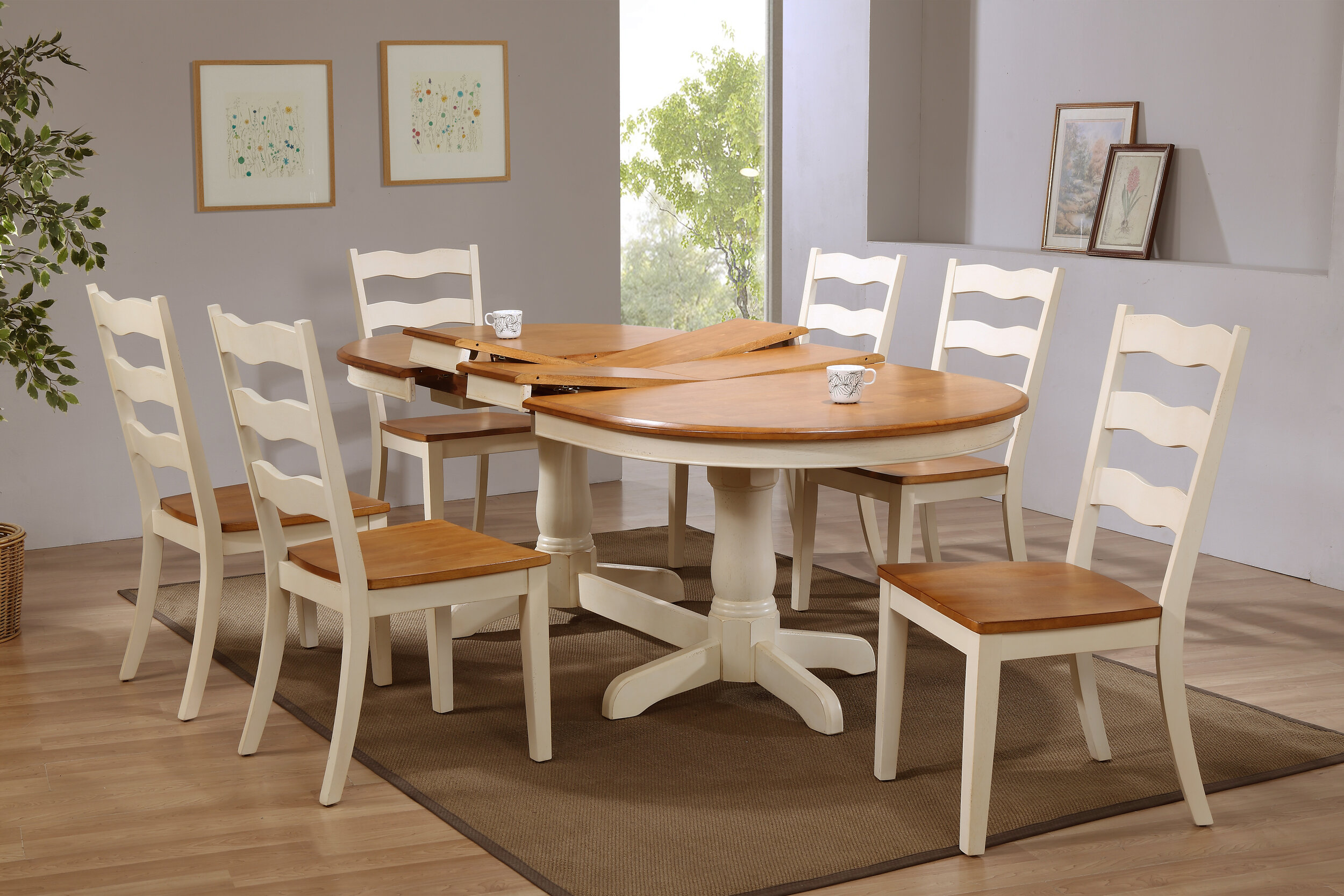 "42""x66""x78""x90"" Oval Whiskey Mocha Transitional Back (7-Piece Dining Set)"