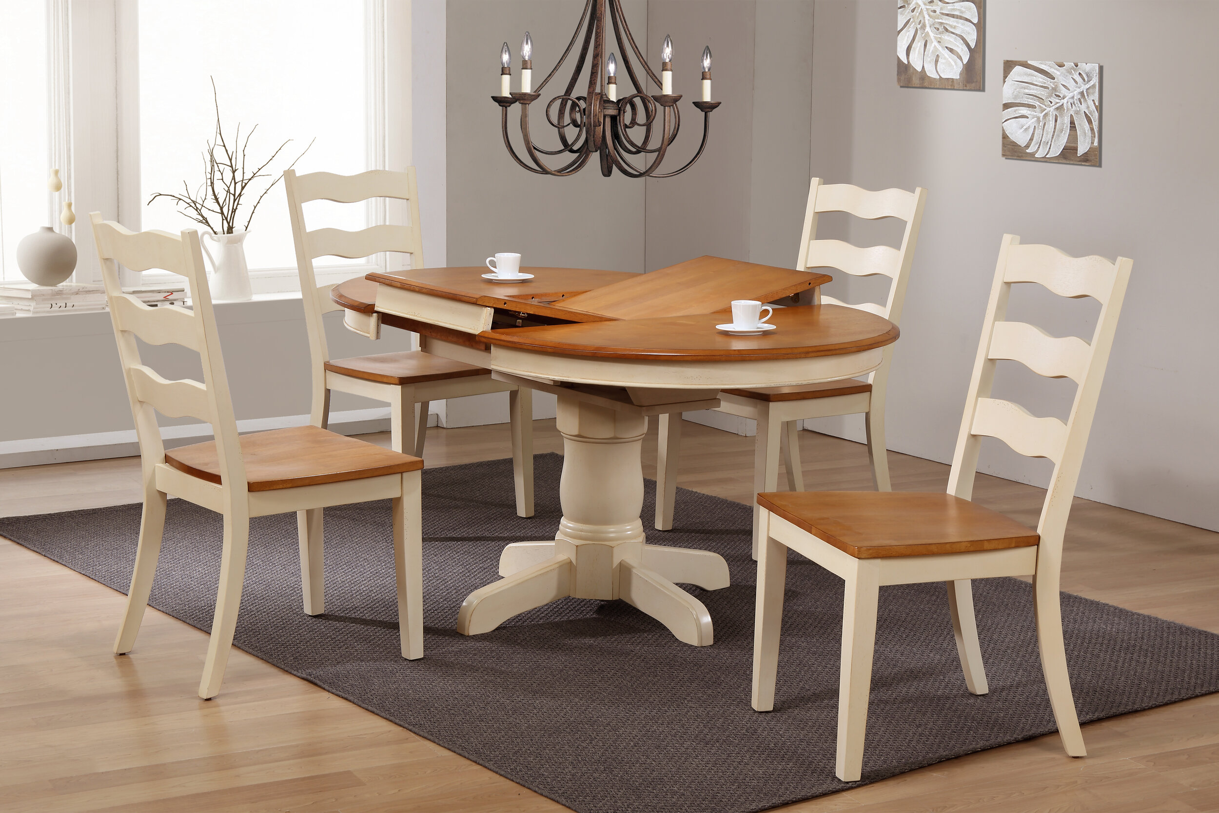 "42""x42""x60"" Round Antiqued Caramel Biscotti Transitional Ladder Back (5-Piece Dining Set)"