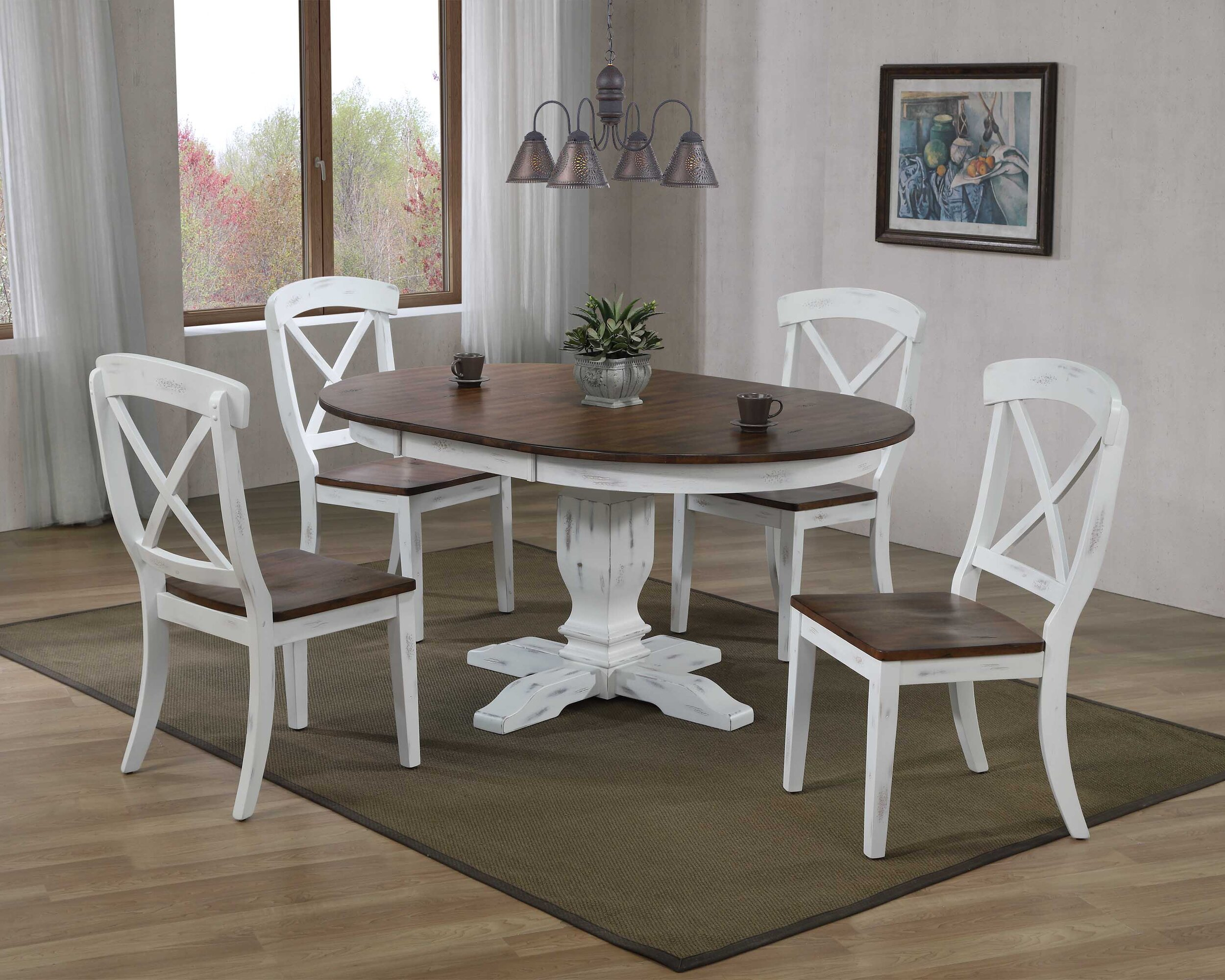"45""x45""x63"" Transitional Distressed Cocoa Brown/Cotton White X-Back (5-Piece Dining Set)"