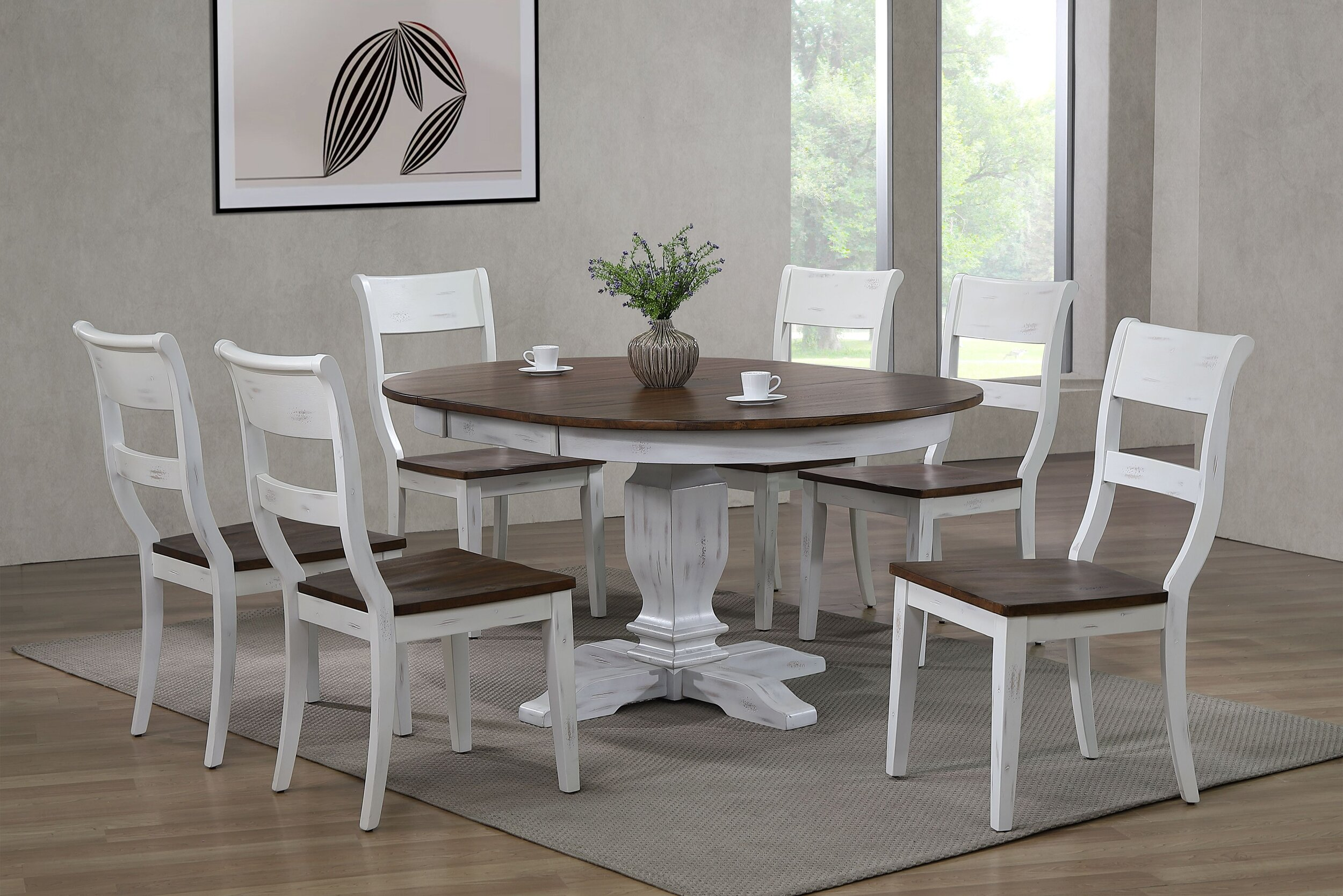 "45""x45""x63"" Transitional Table In Distressed Cocoa Brown & Cotton White (7-Piece Dining Set)"