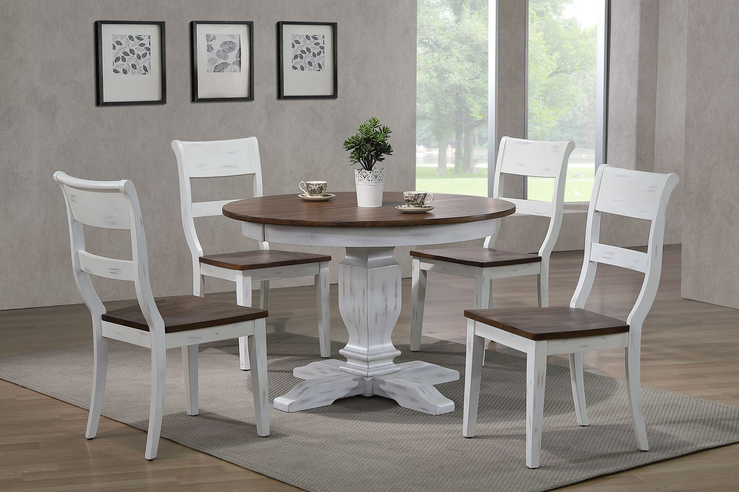 "45""x45""x63"" Transitional Distressed Cocoa Brown & Cotton White (5-Piece Dining Set)"
