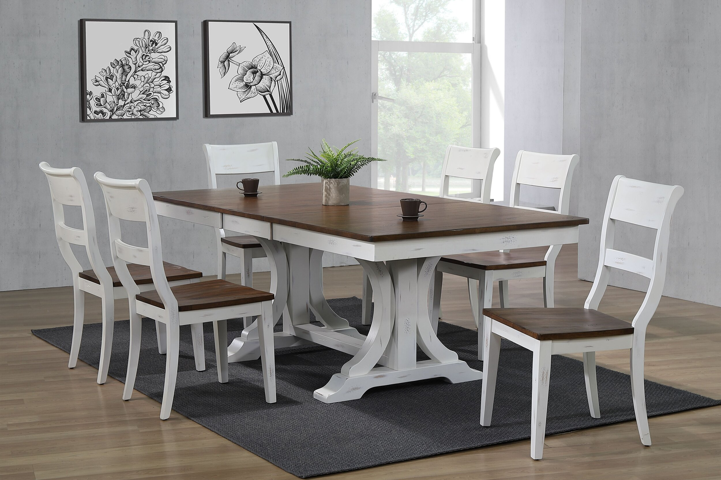 "42""x64""x82"" Double Pedestal Art Deco Distressed Cocoa Brown & Cotton White (7-Piece Dining Side Set)"
