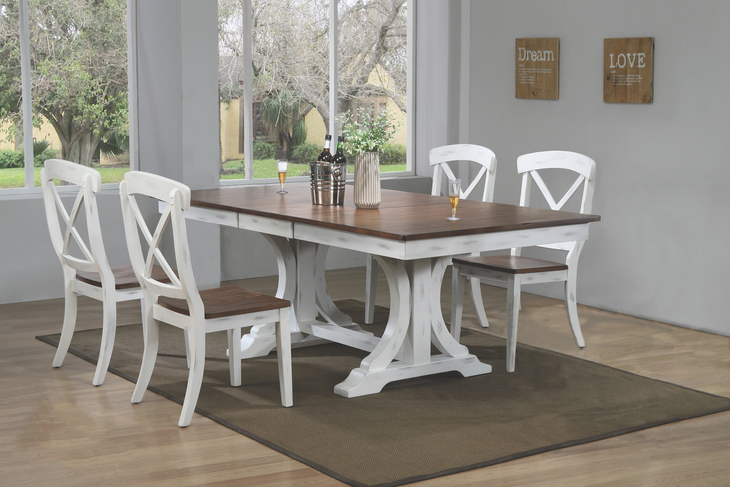 "42""x64""x82"" Double Pedestal Deco Distressed Cocoa Brown/ Cotton White Transitional X-Back (5-Piece Dining Set)"