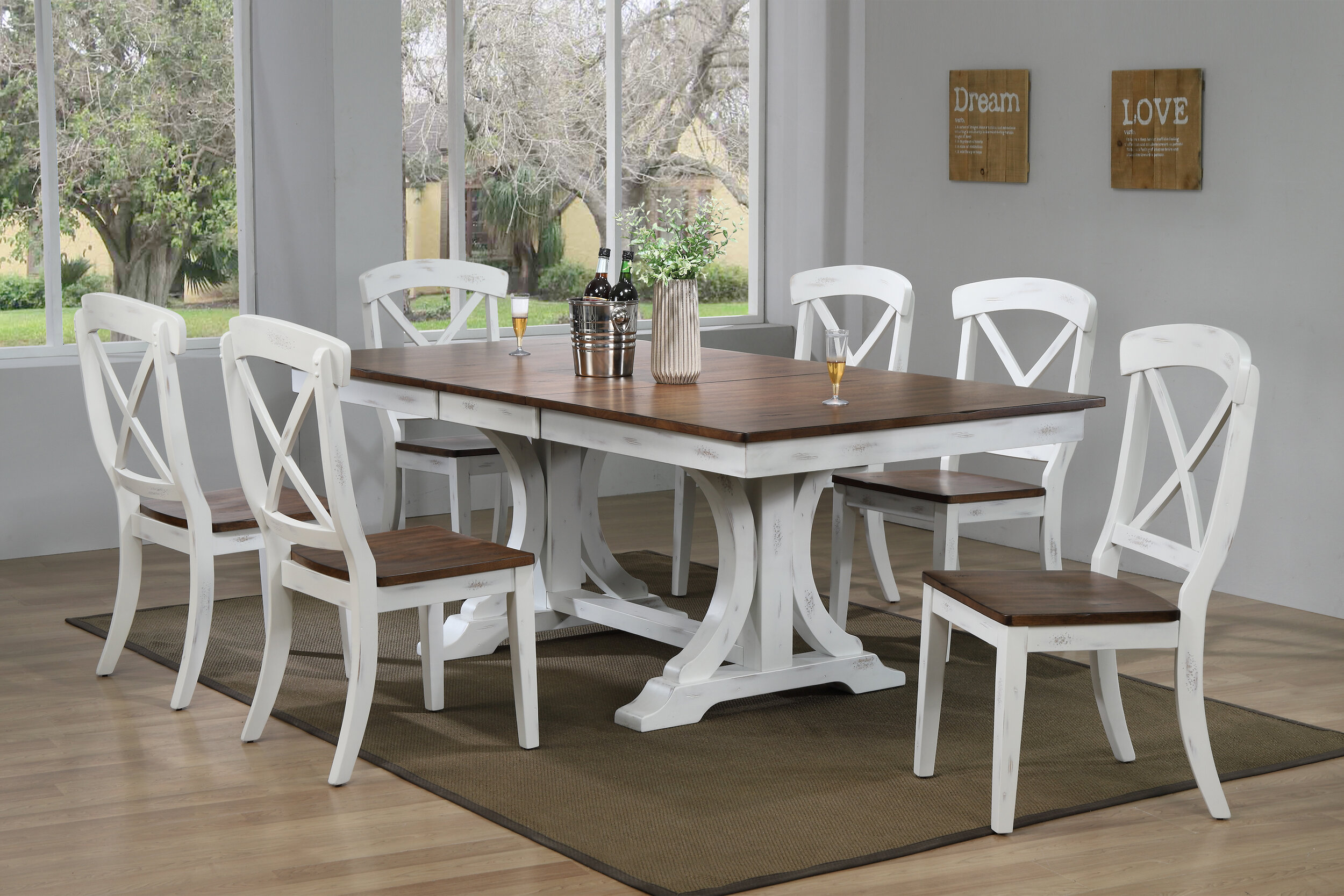 "42""x64""x82"" Double Pedestal Deco Distressed Cocoa Brown/ Cotton White Transitional X-Back (7-Piece Dining Set)"