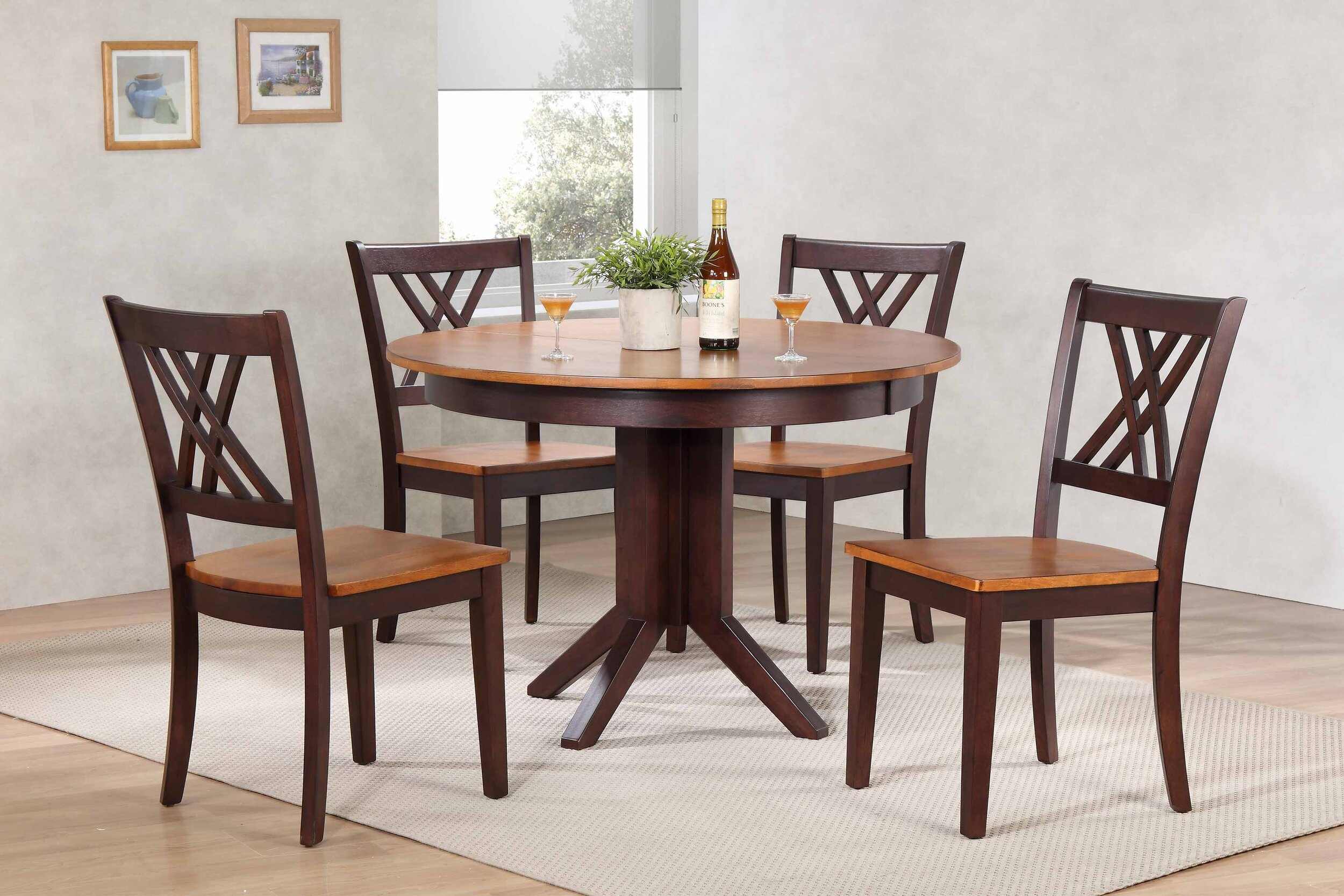 "45""x45""x63"" Contemporary Whiskey/Mocha Double X-Back (5-Piece Dining Set)"